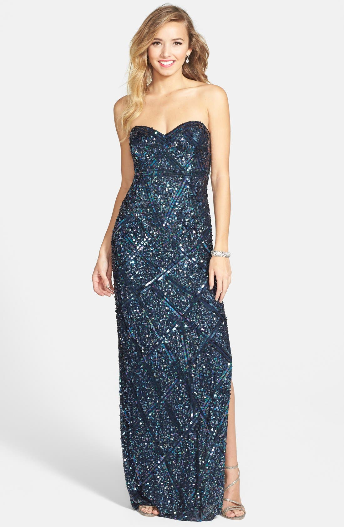 Main Image - Sean Collection Sequin Silk Strapless Gown