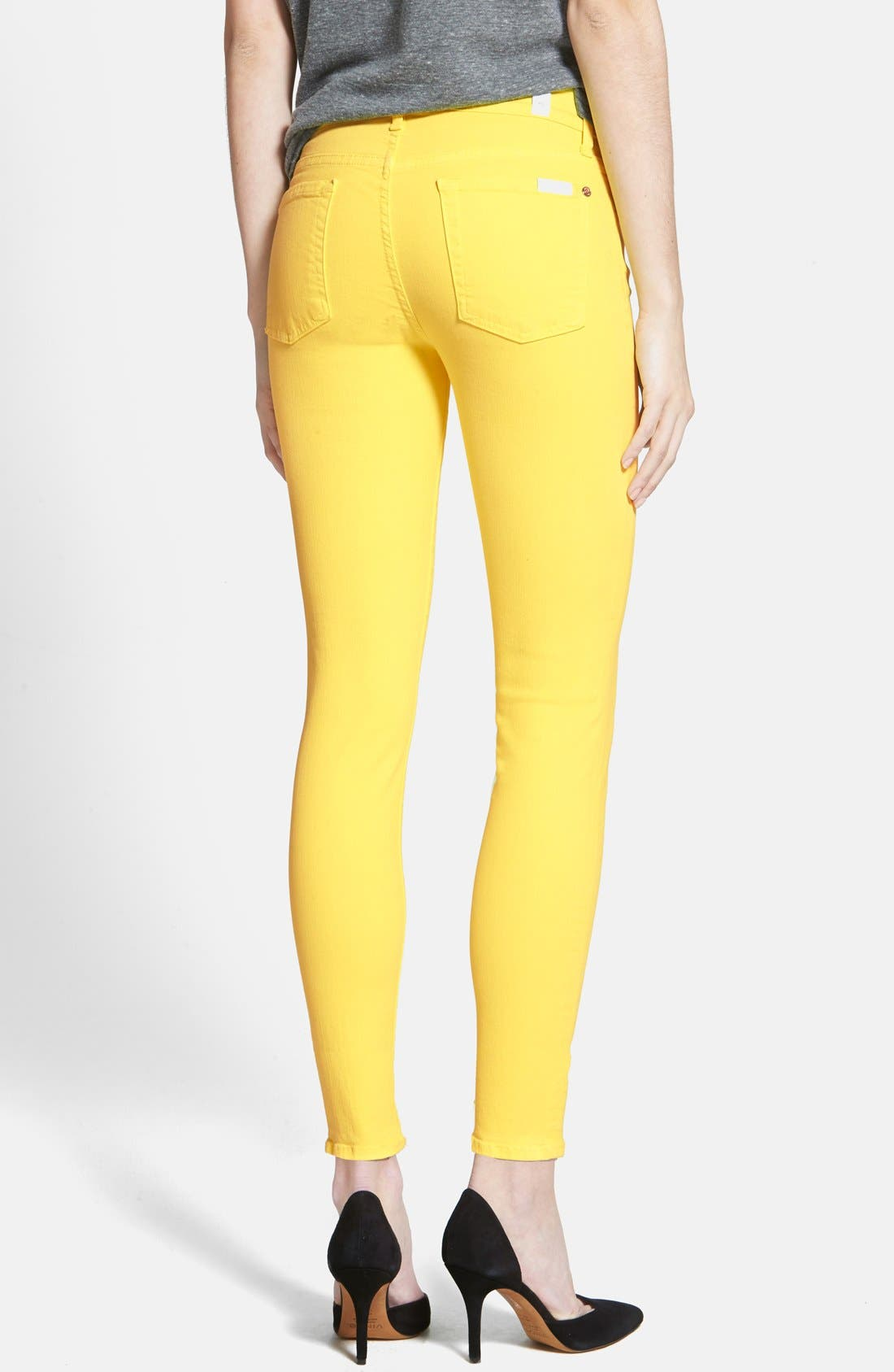 Alternate Image 2  - 7 For All Mankind® 'The Ankle Skinny' Jeans (Blazing Yellow)