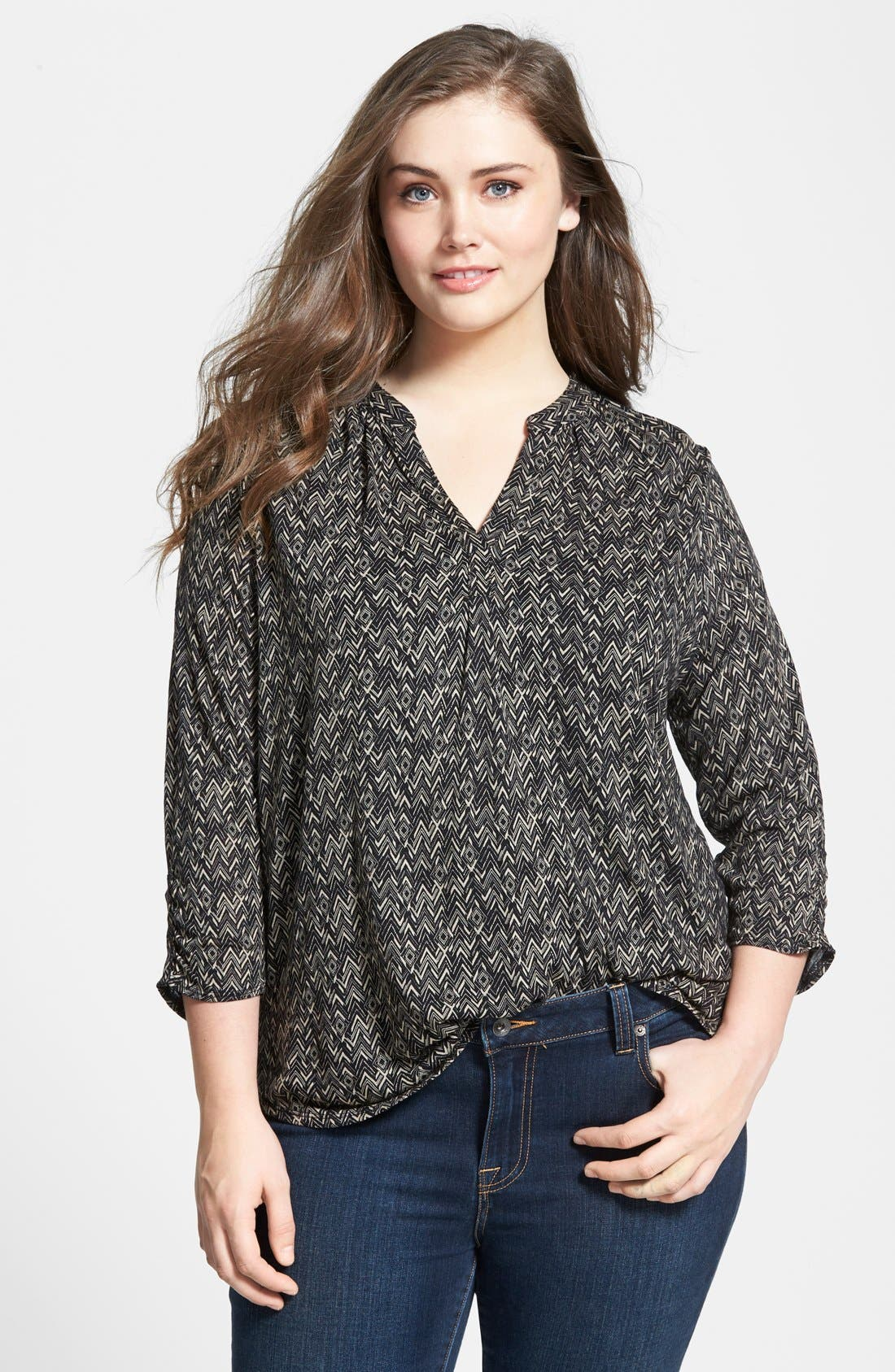 Alternate Image 1 Selected - Lucky Brand Chevron Print Split Neck Top (Plus Size)