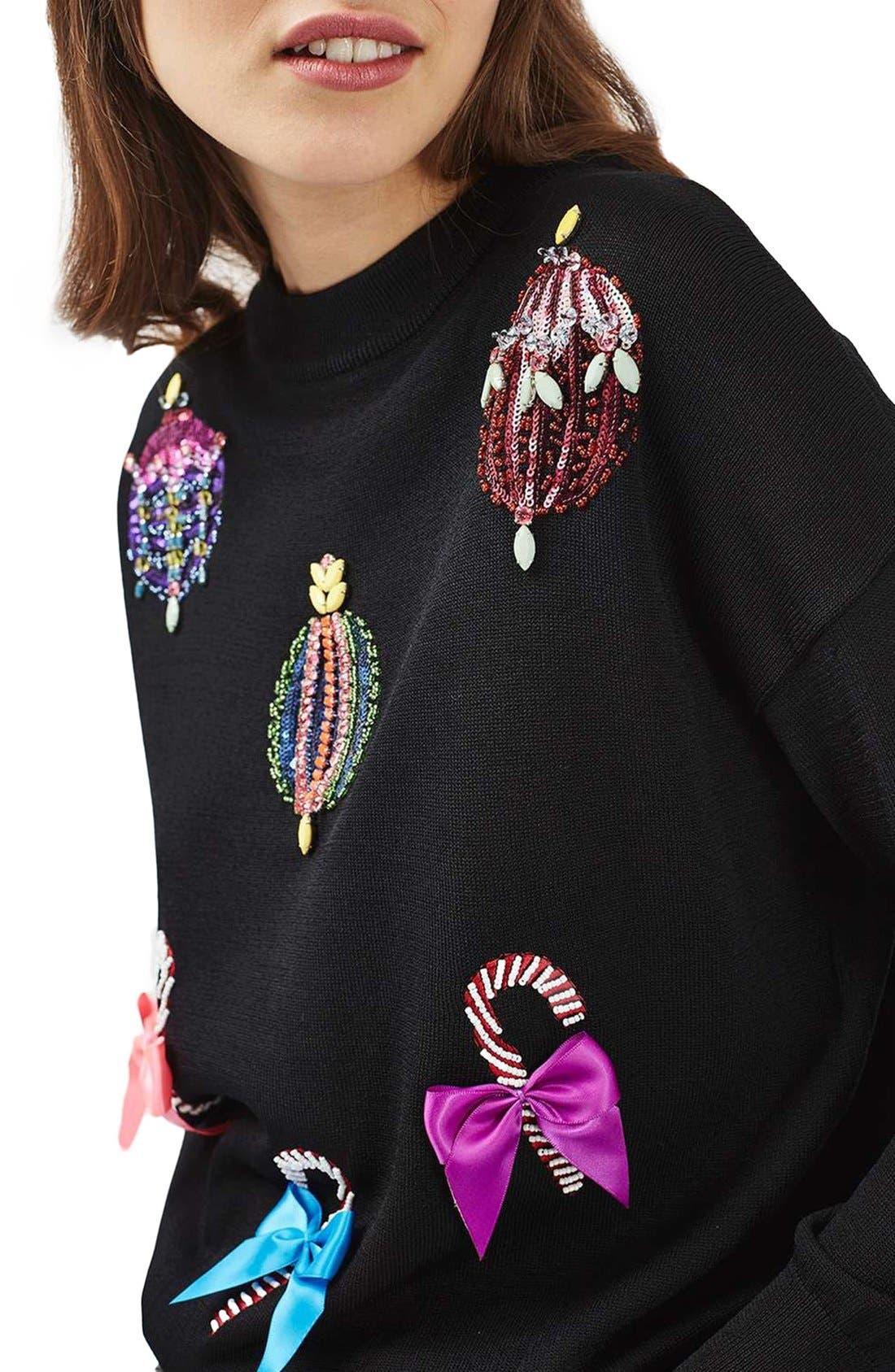 Alternate Image 5  - Topshop Christmas Ornament Sweater