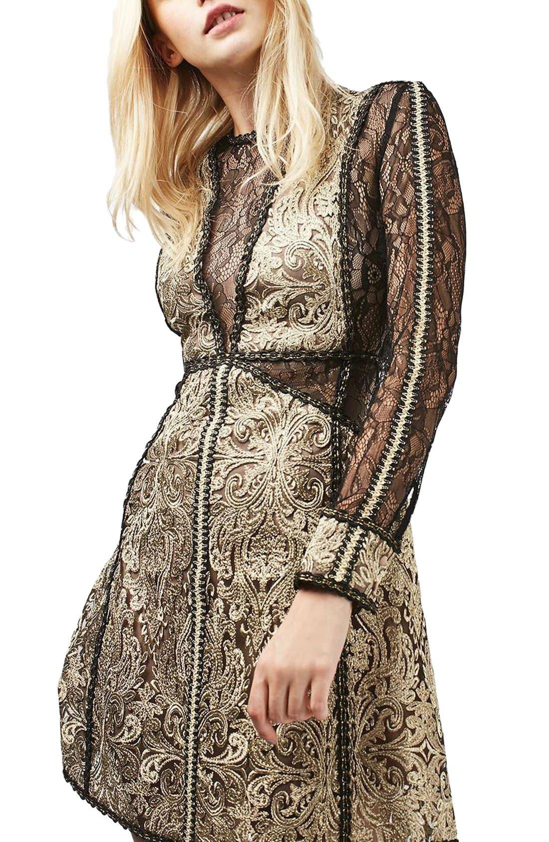 Alternate Image 5  - Topshop Lace A-Line Dress