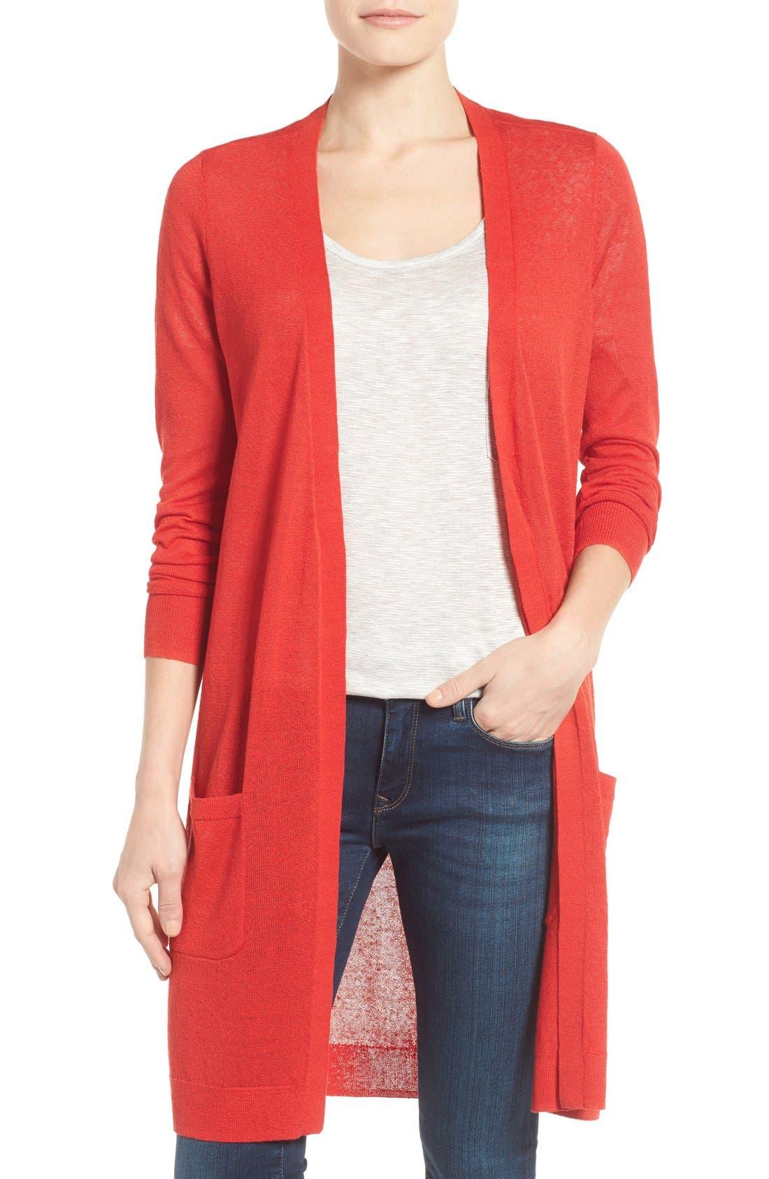 Main Image - Halogen® Long Linen Blend Cardigan (Regular & Petite)