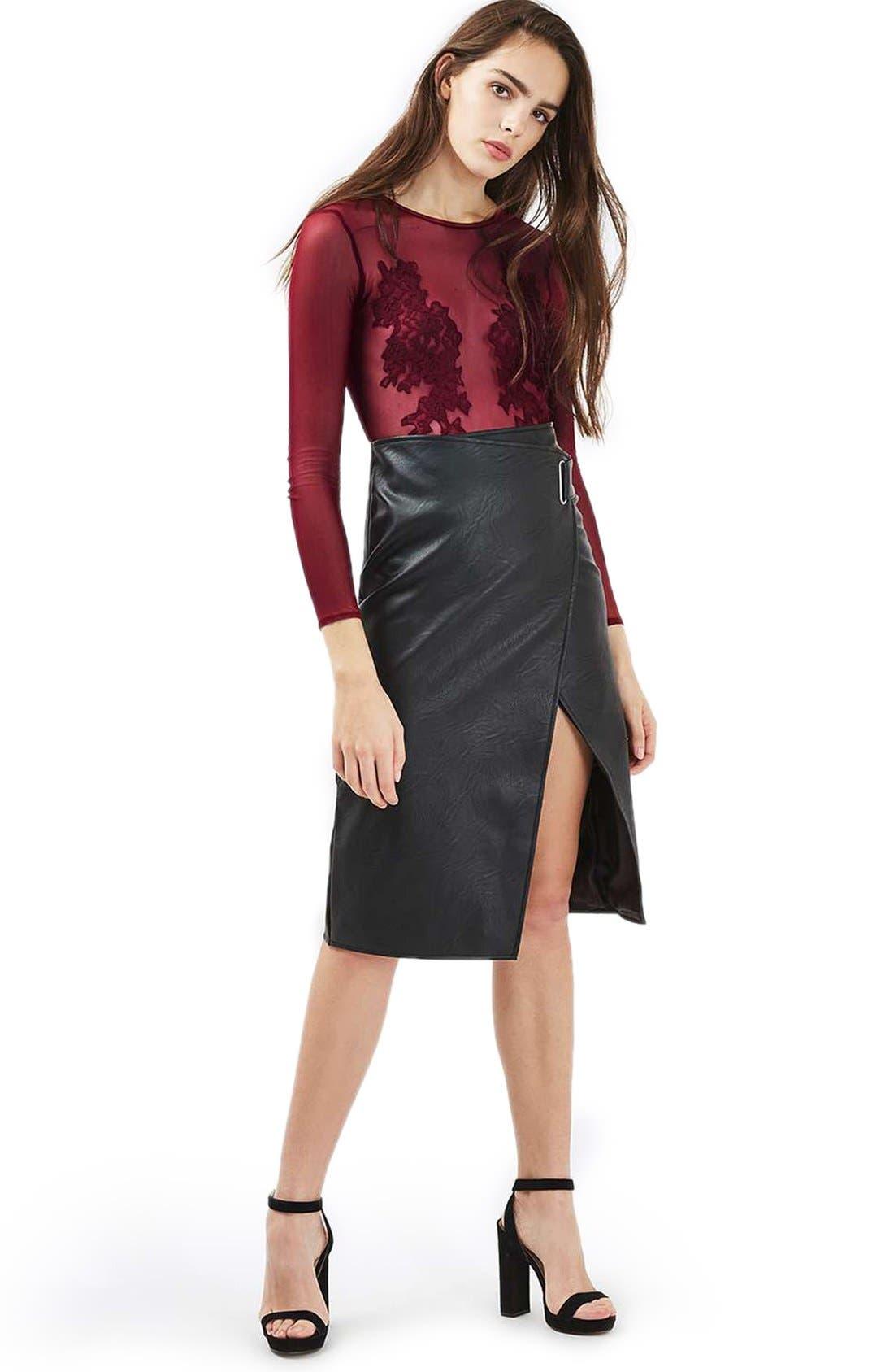 Alternate Image 2  - Topshop Lace Appliqué Sheer Bodysuit