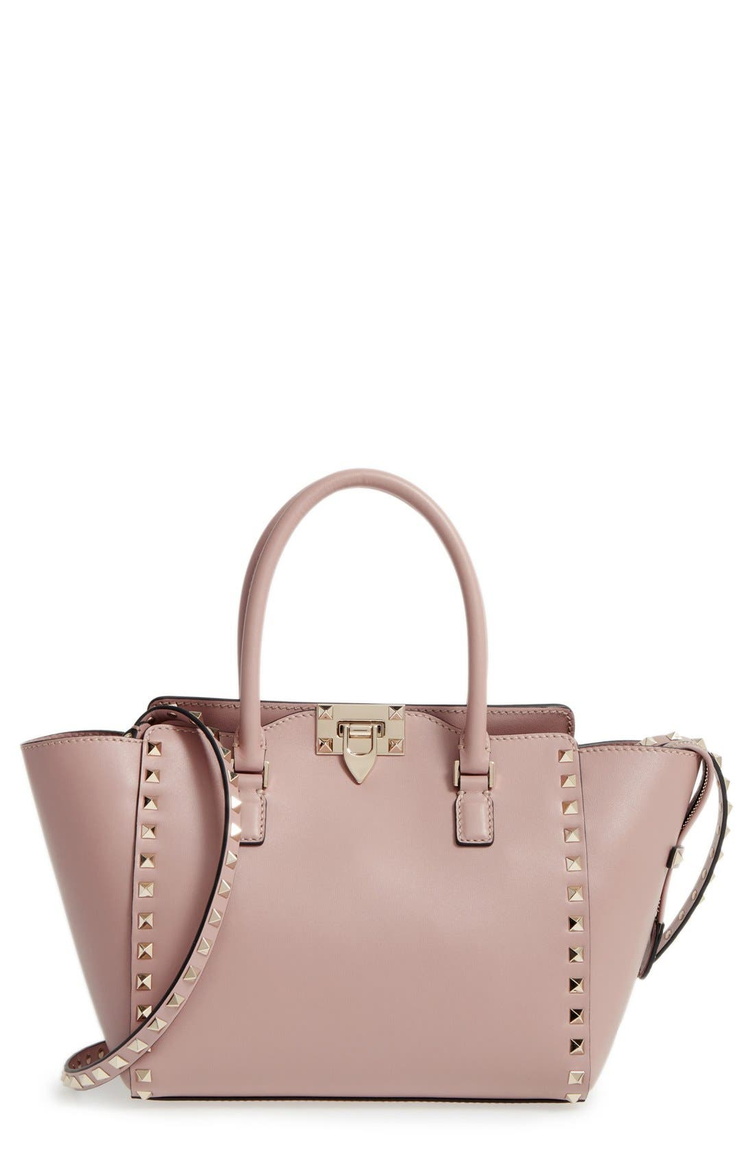 VALENTINO GARAVANI Rockstud Small Double Handle Leather Tote