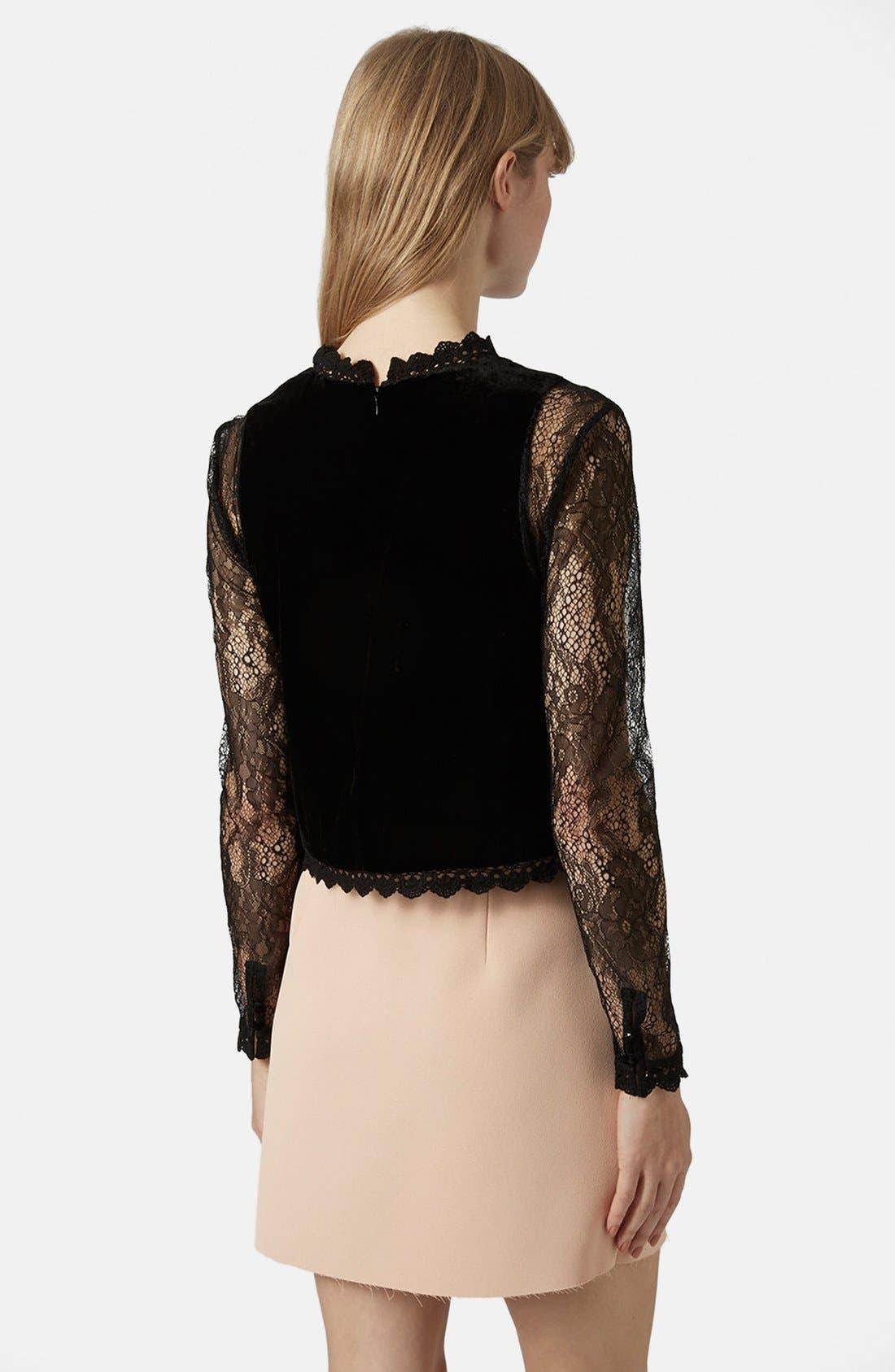 Alternate Image 2  - Topshop Lace Sleeve Velvet Top