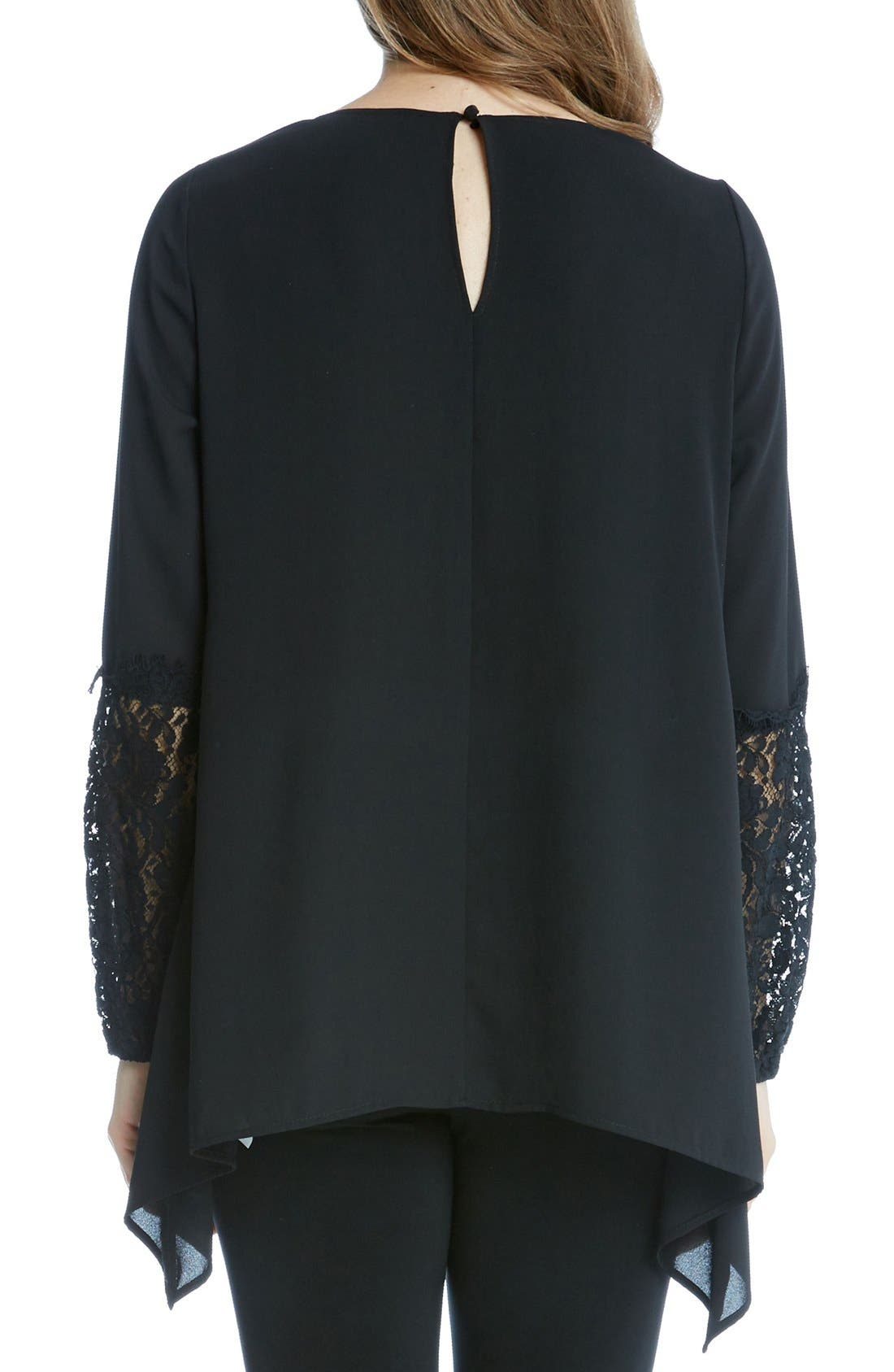 Alternate Image 2  - Karen Kane Lace Sleeve Handkerchief Top
