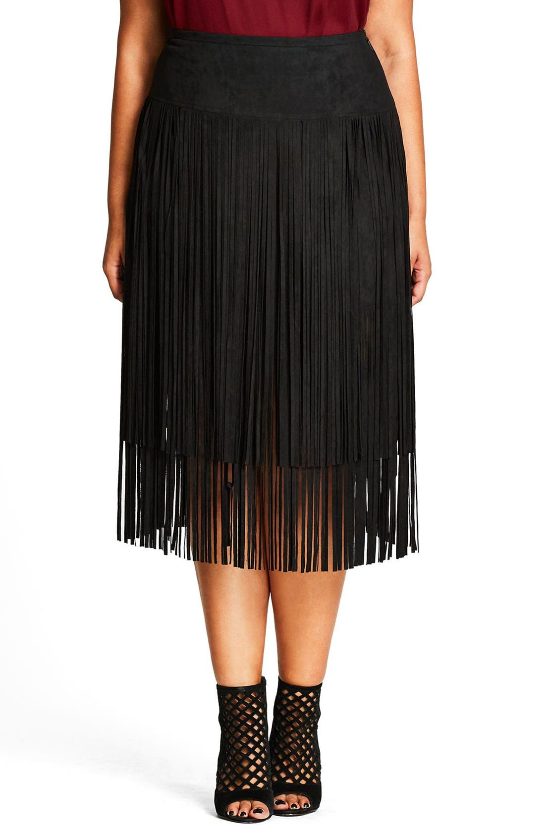 CITY CHIC Woodstock Tiered Fringe Faux Suede Skirt