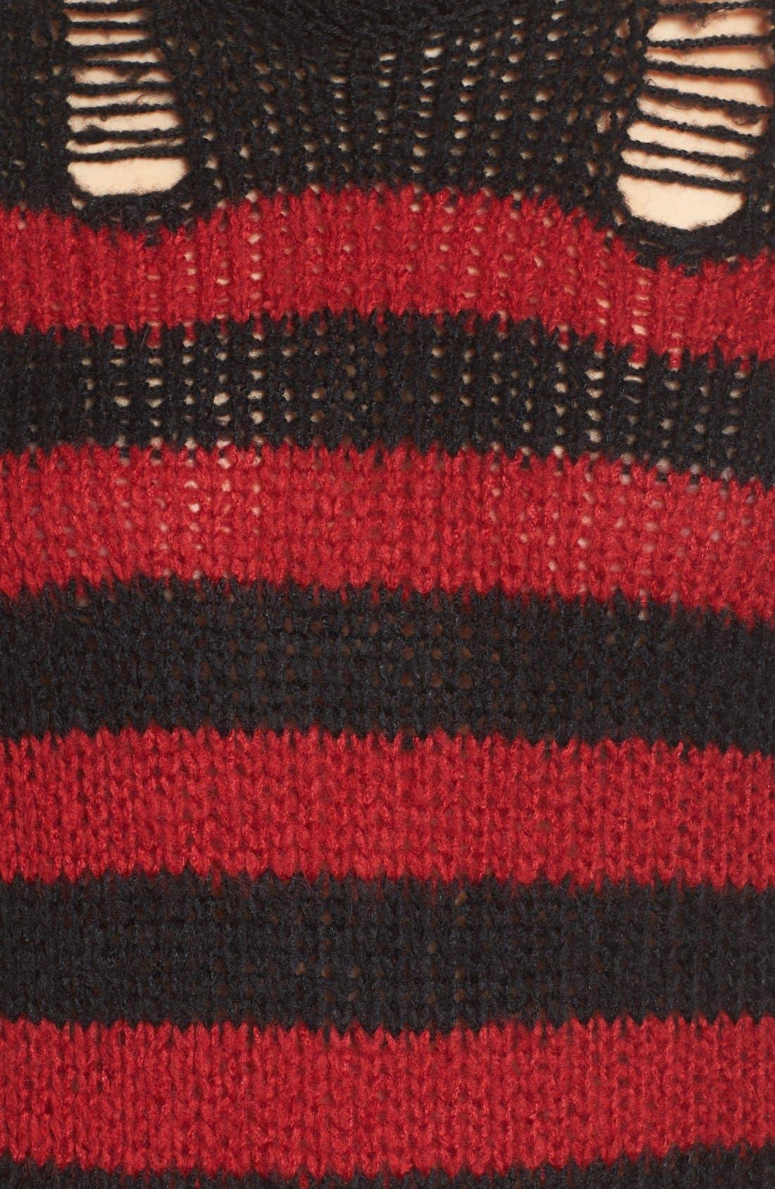 Alternate Image 5  - Pam & Gela Stripe Open Knit Sweater