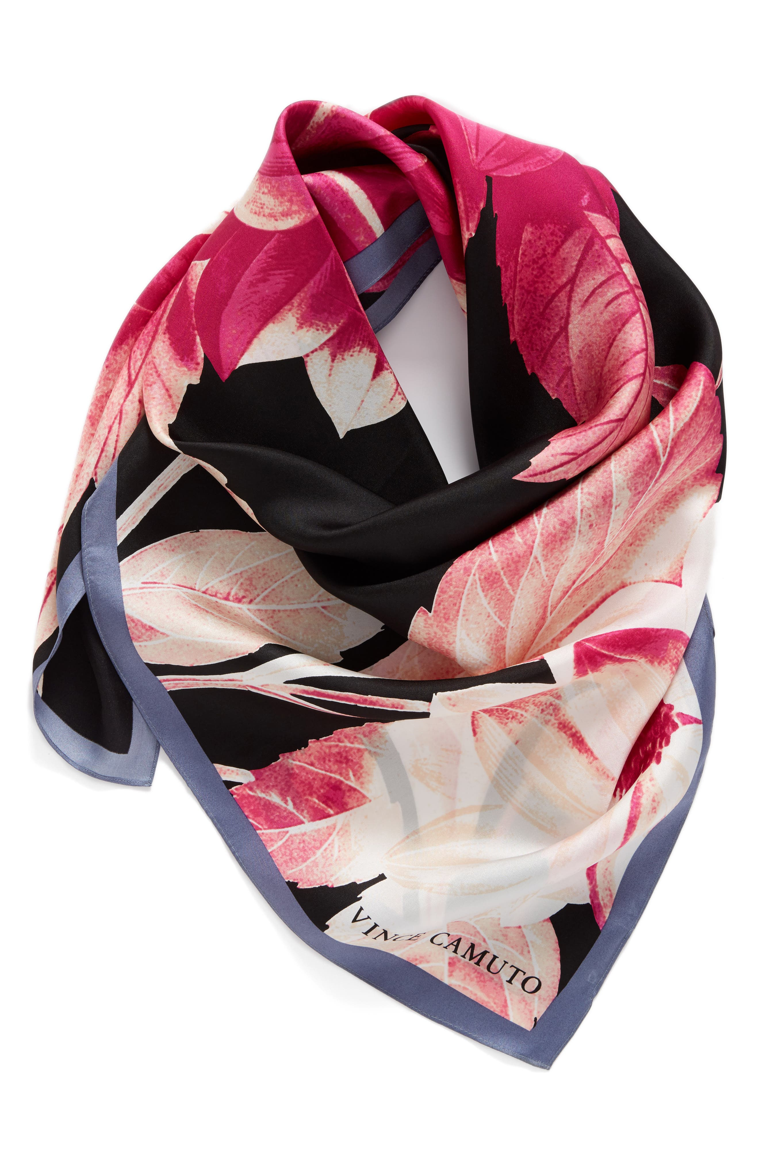 Main Image - Vince Camuto Floating Florals Square Silk Scarf