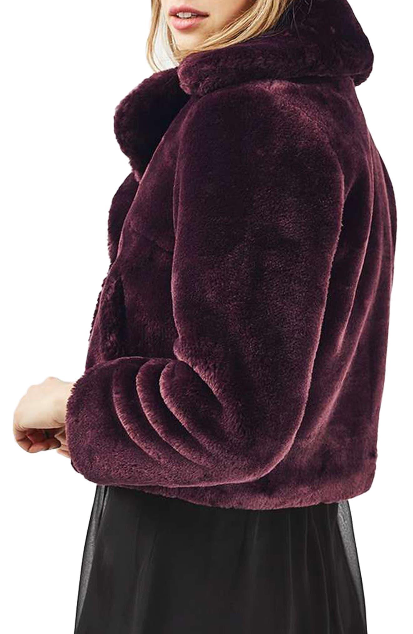 Alternate Image 2  - Topshop Crop Faux Fur Coat