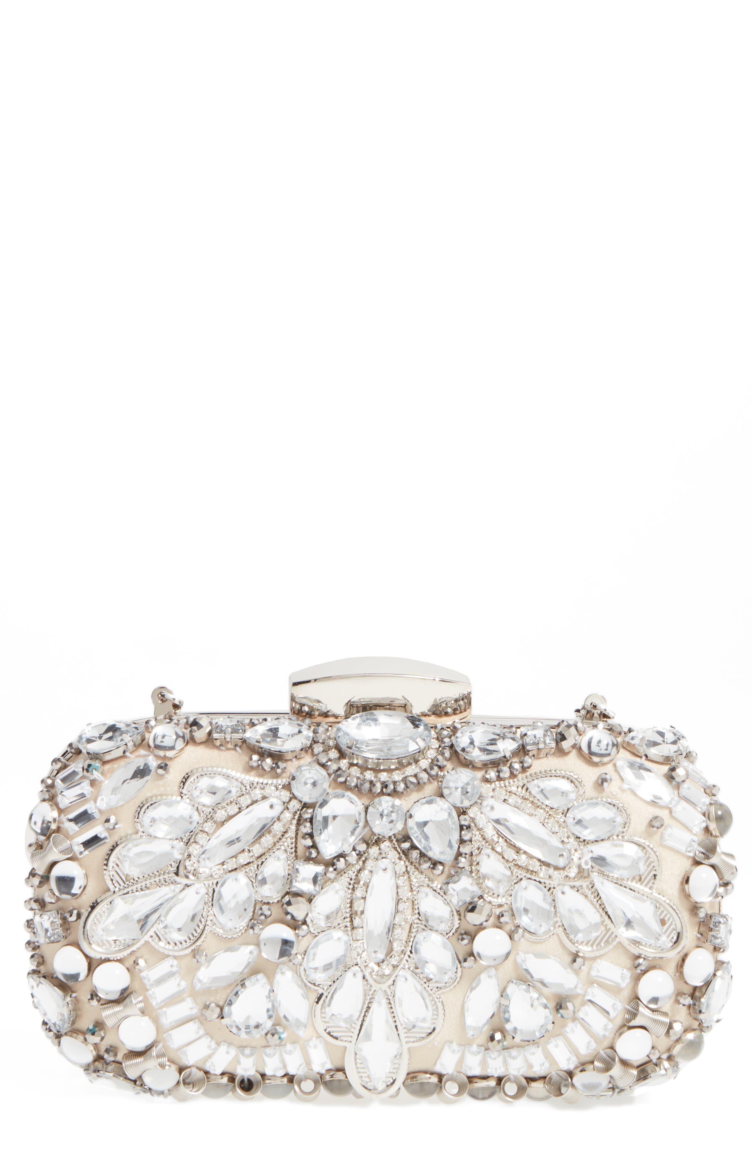 Alternate Image 1 Selected - Natasha Couture Crystal Embellished Frame Clutch