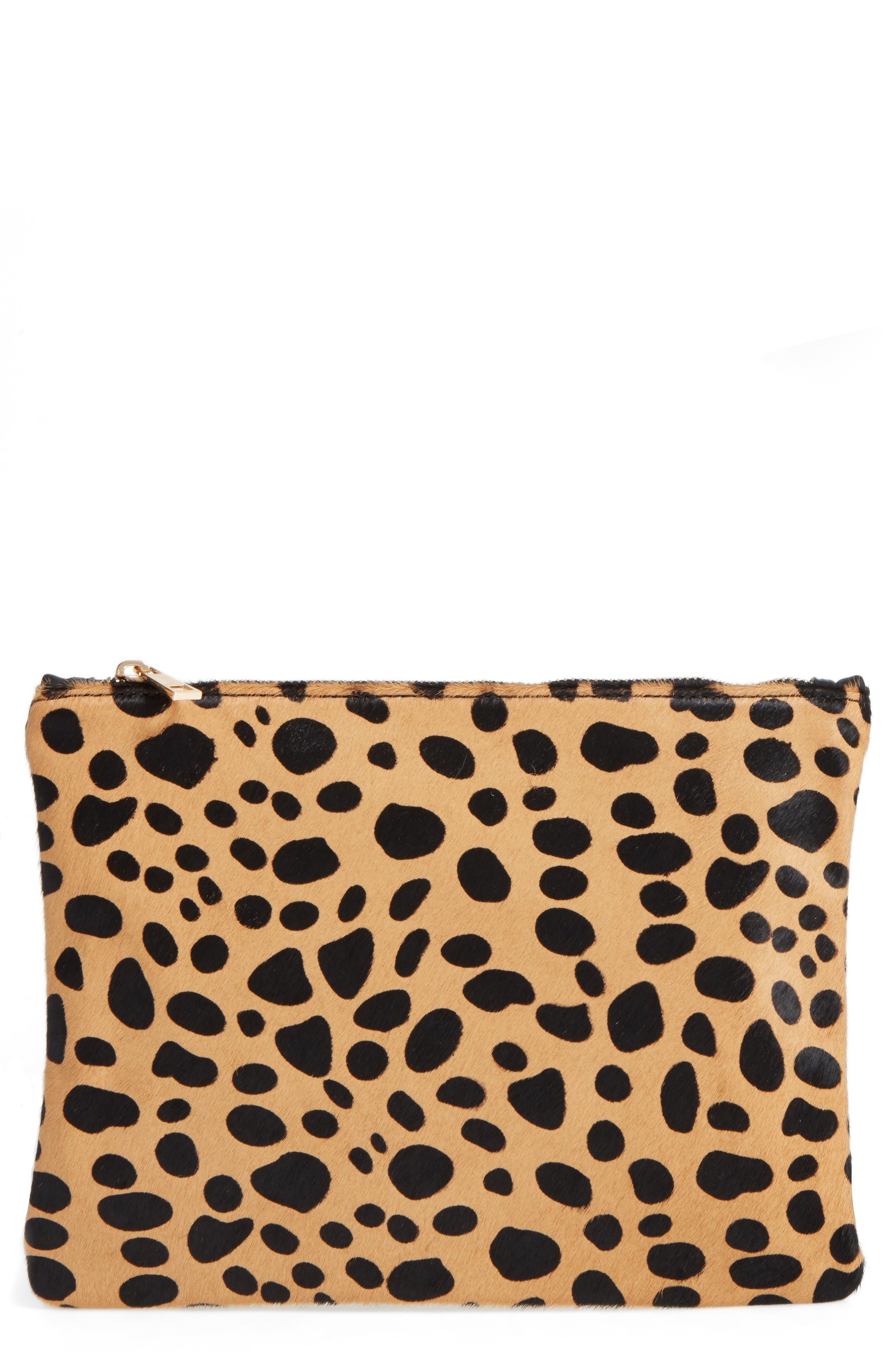 BP. Leopard Print Genuine Calf Hair Clutch