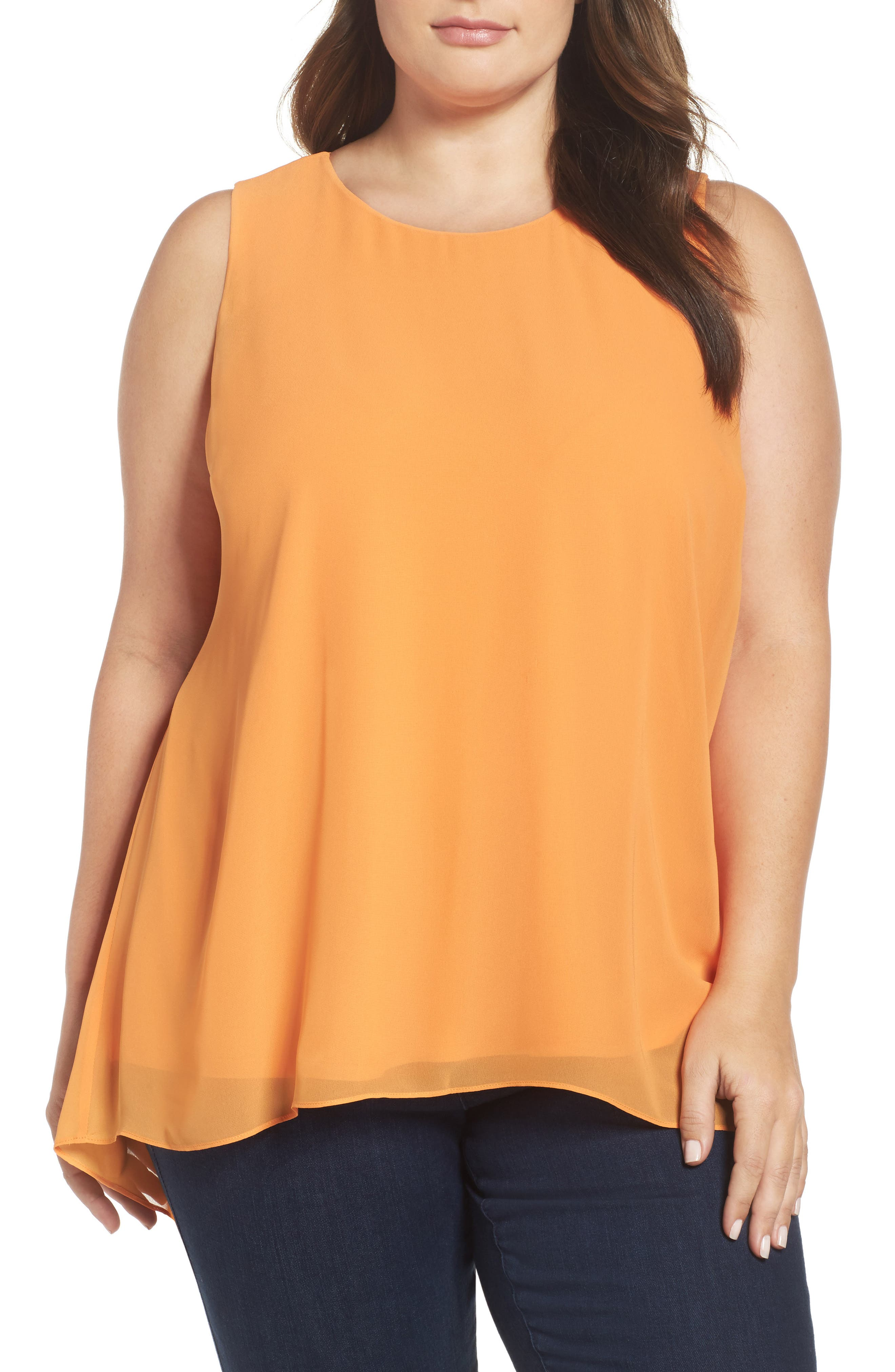 Main Image - Vince Camuto Knit Lined High/Low Blouse