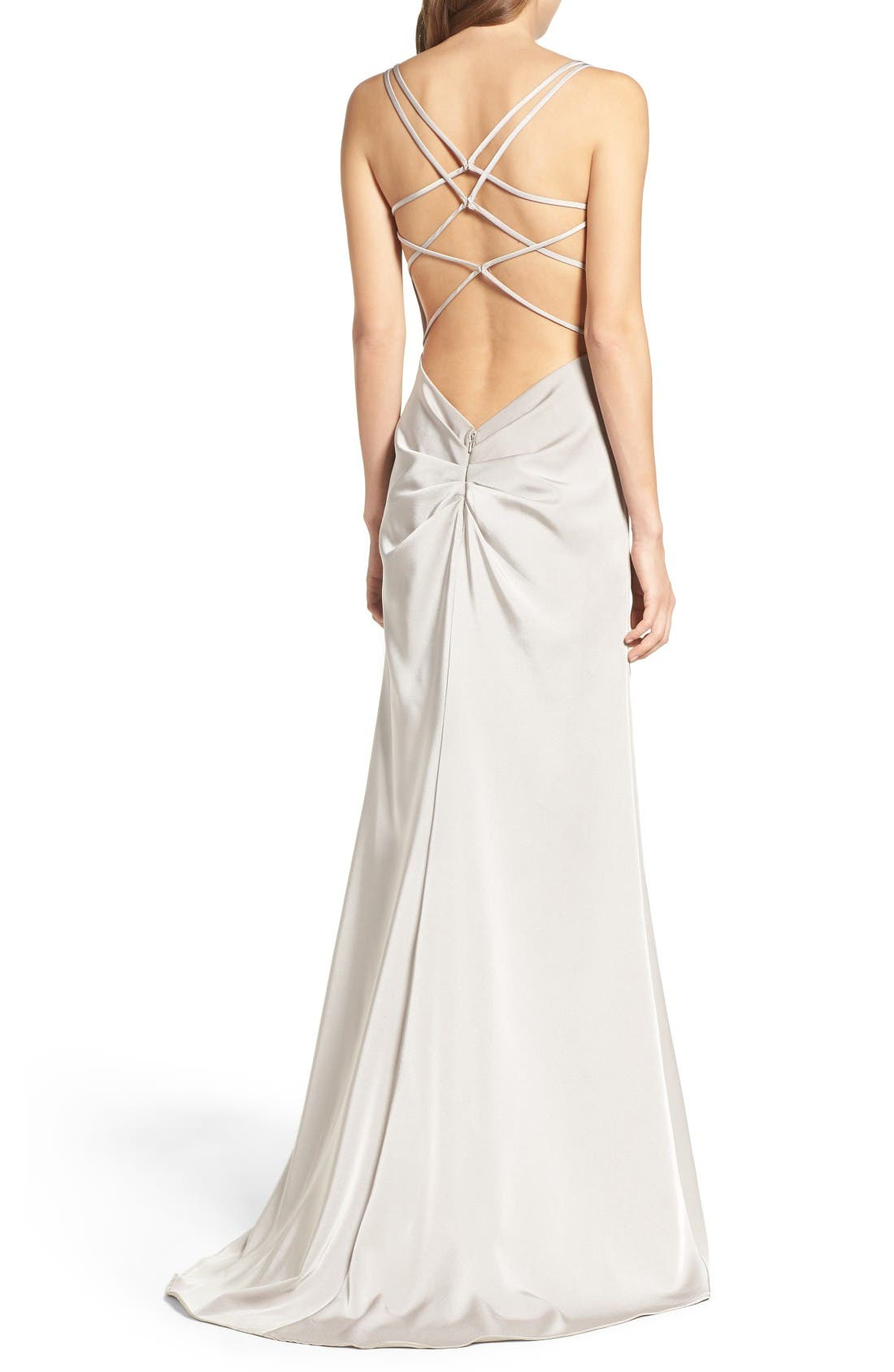 Alternate Image 2  - La Femme Ruched Bodice Gown