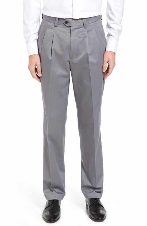 Nordstrom Men's Shop Classic Smartcare™ Supima® Cotton Pleated Trousers (Regular, Big   Tall)