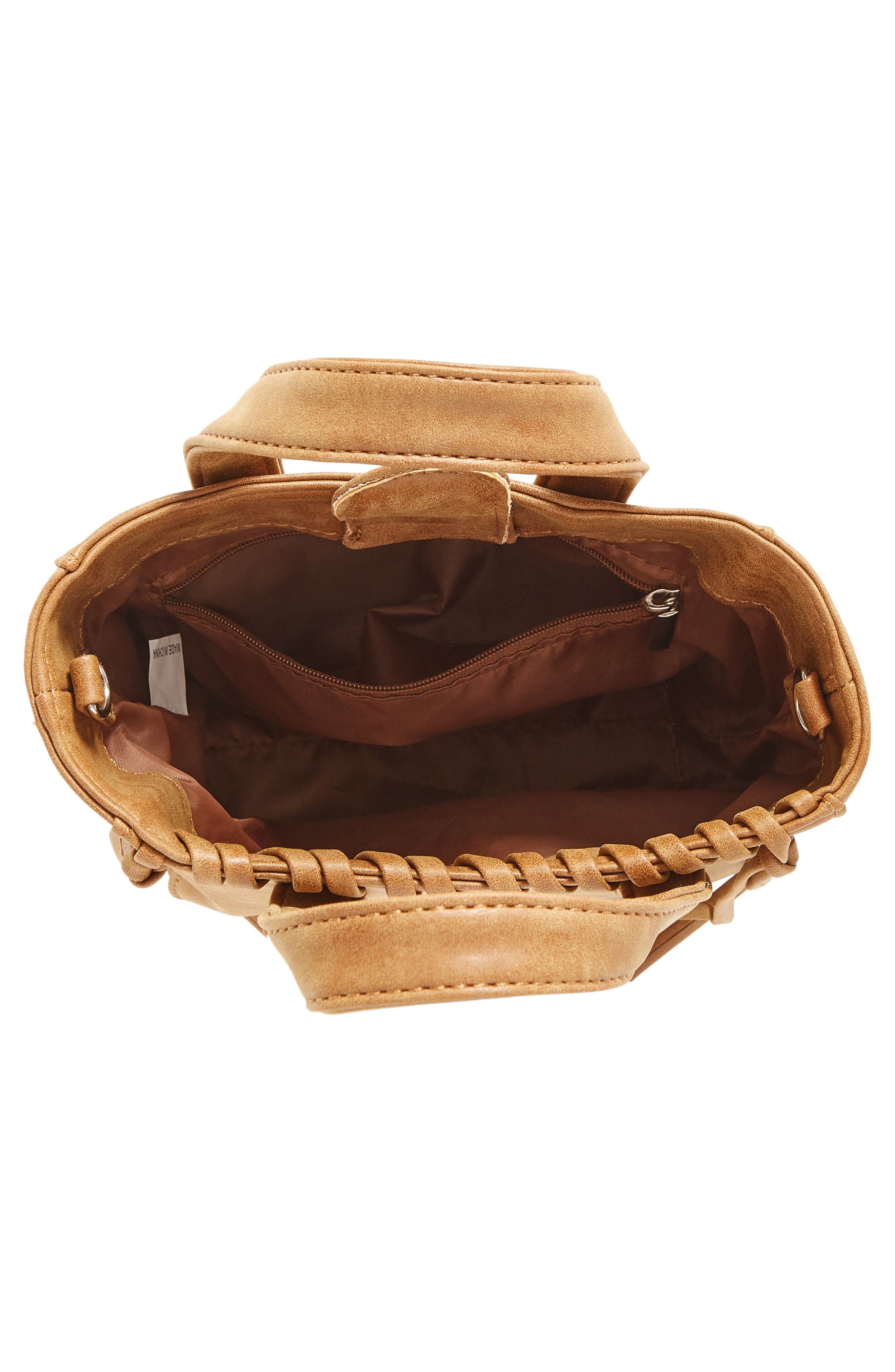 Alternate Image 4  - OMG Faux Leather Shoulder Bag with Faux Fur Bag Charm (Special Purchase)