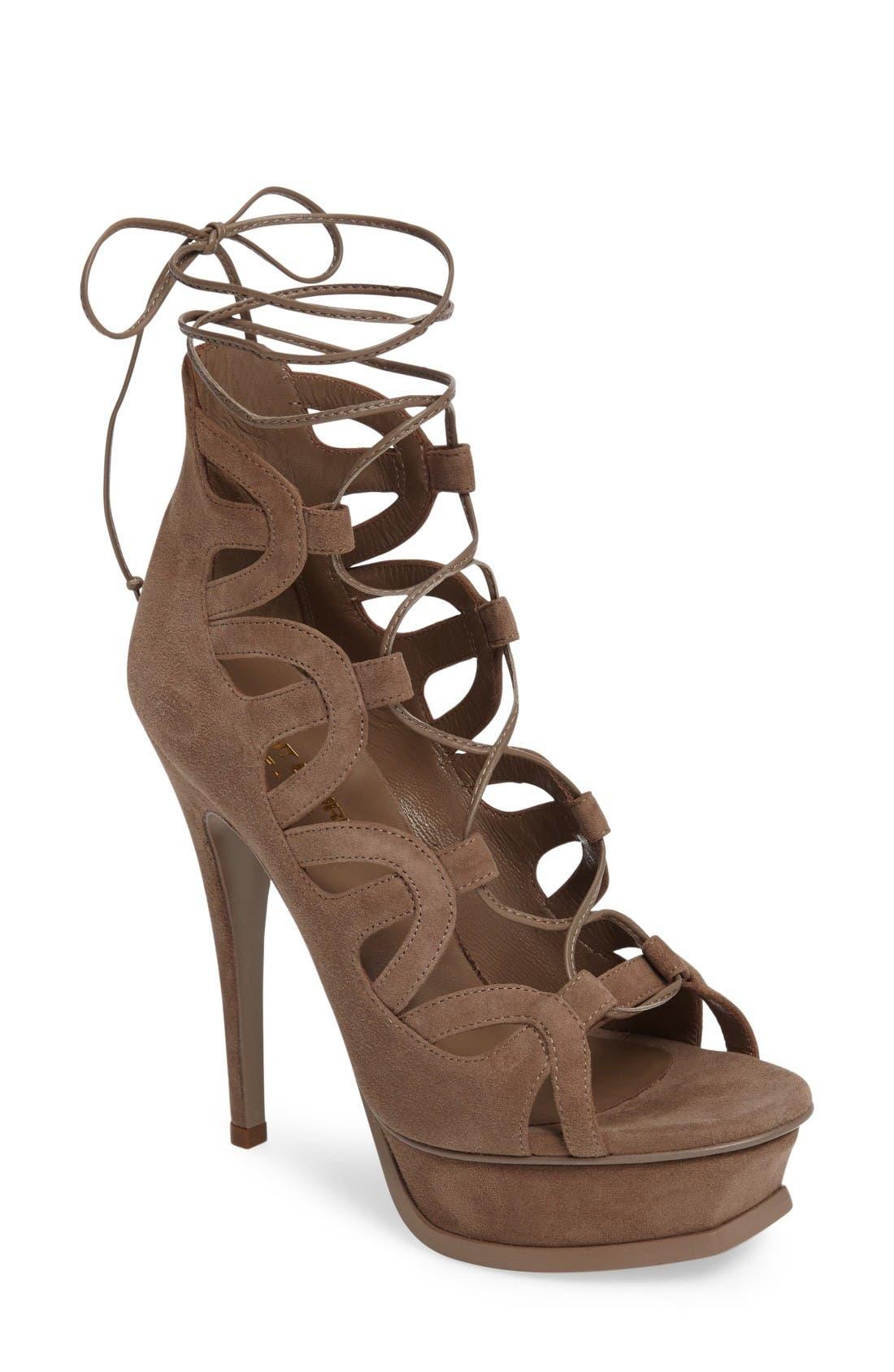 SAINT LAURENT 'Tribute' Lace-Up Platform Sandal