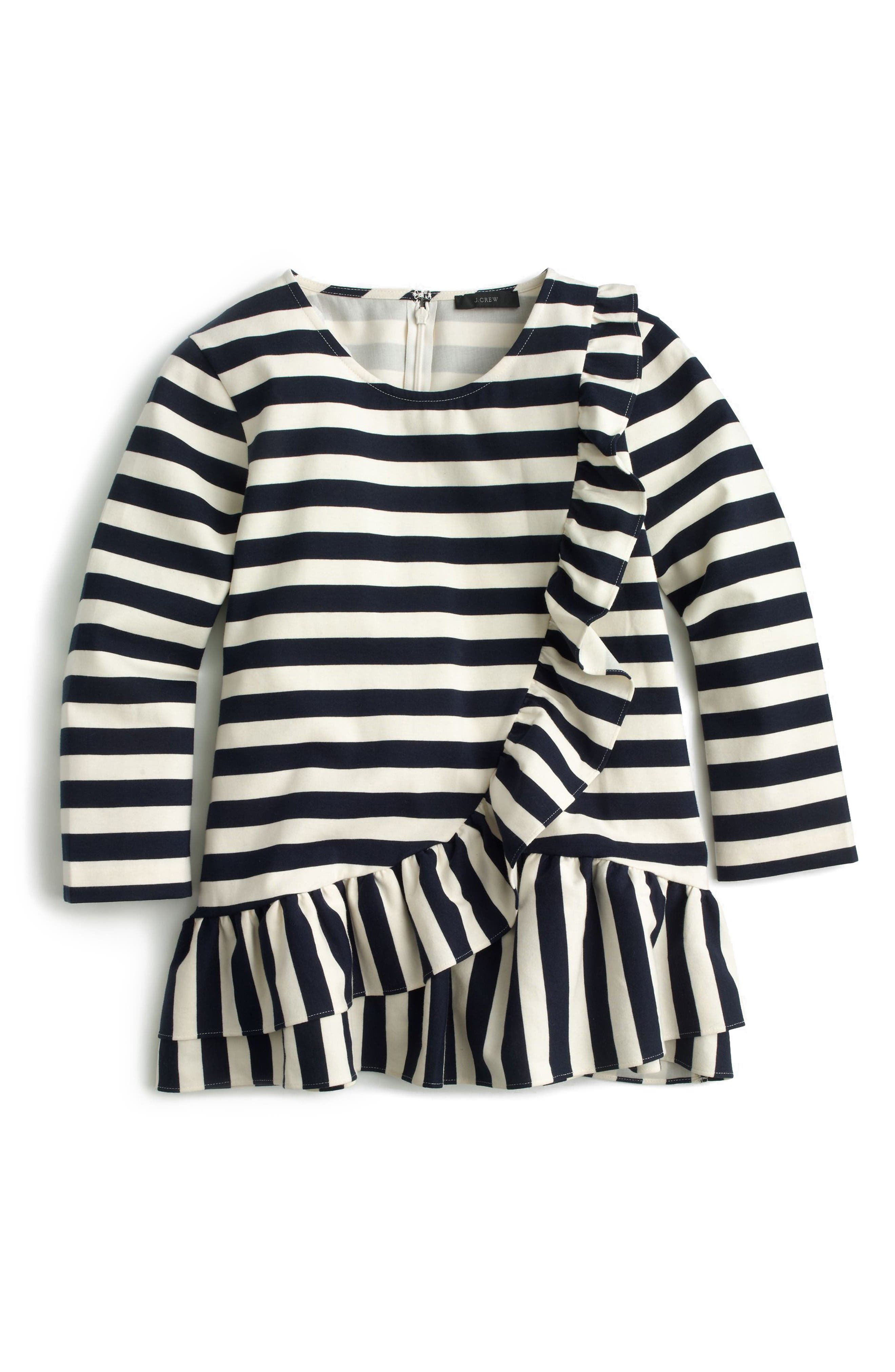 Alternate Image 3  - J.Crew Asymmetrical Stripe Ruffle Top