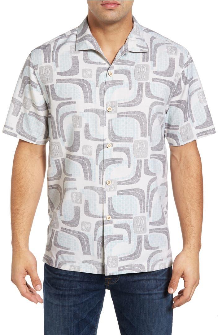 Tommy bahama miles of tiles short sleeve silk camp shirt for Tommy bahama short sleeve silk camp shirt