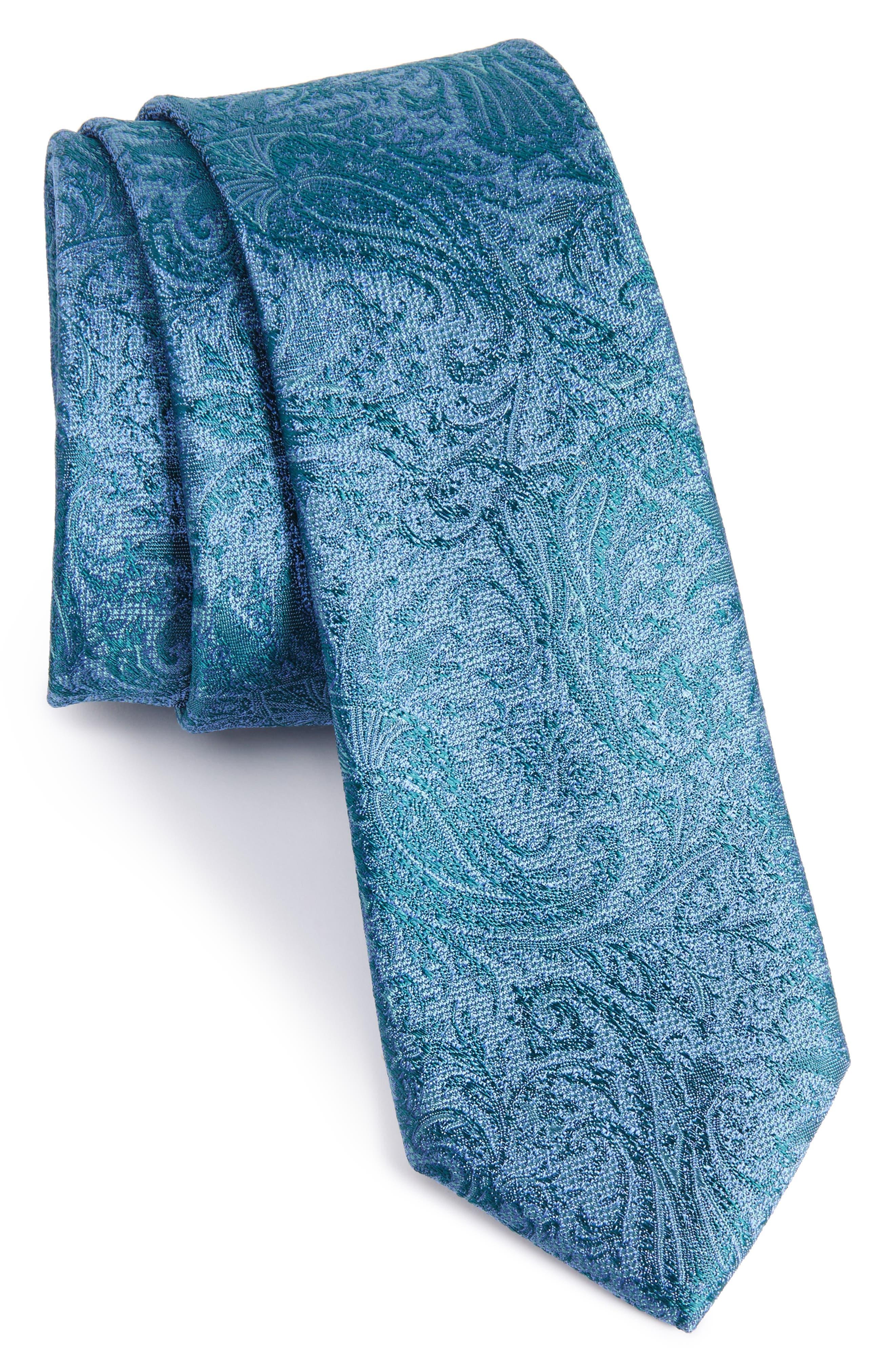 CALIBRATE Botanical Paisley Silk Skinny Tie