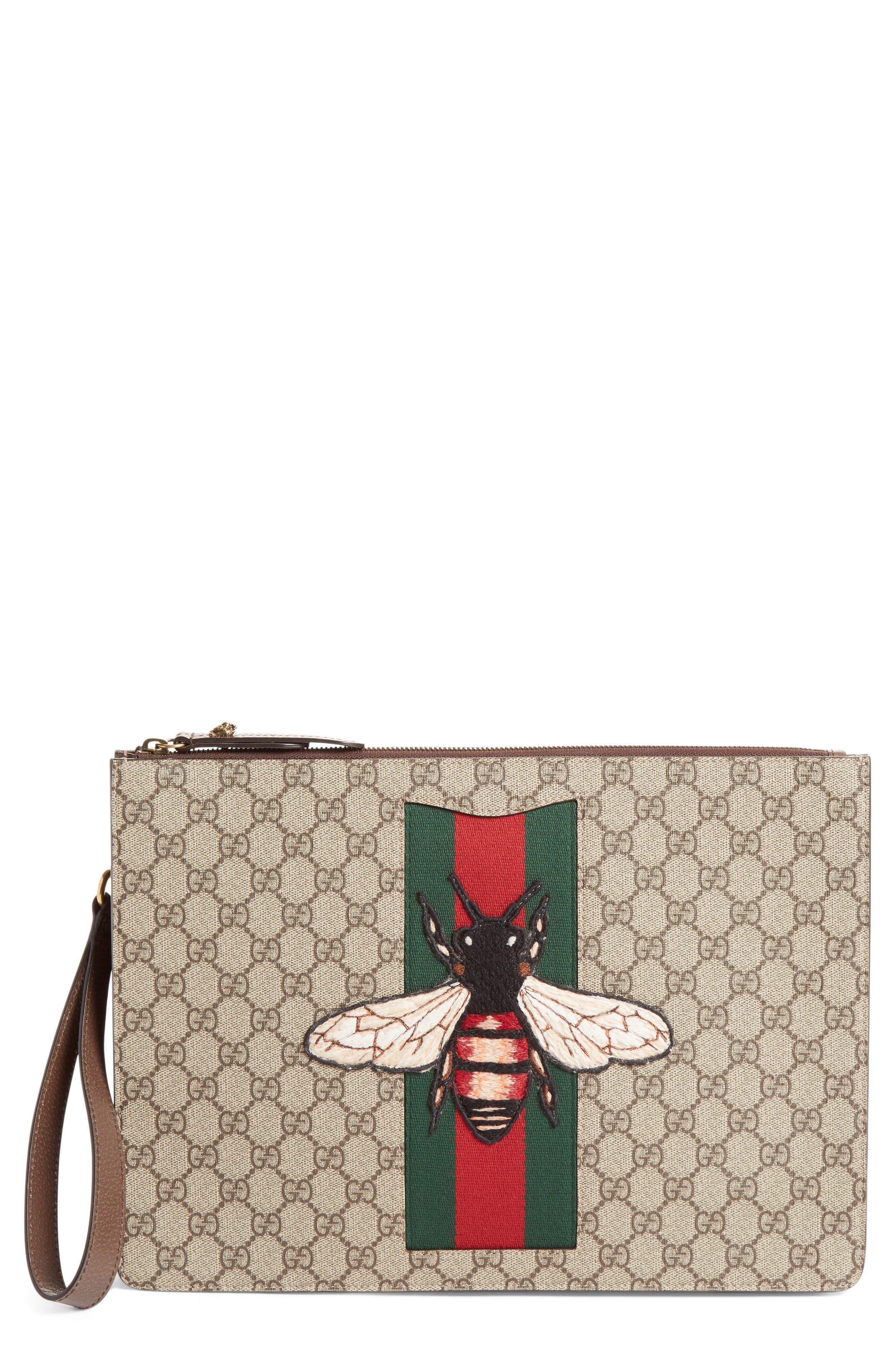 Gucci Bee Appliqué Supreme Canvas Zipper Pouch
