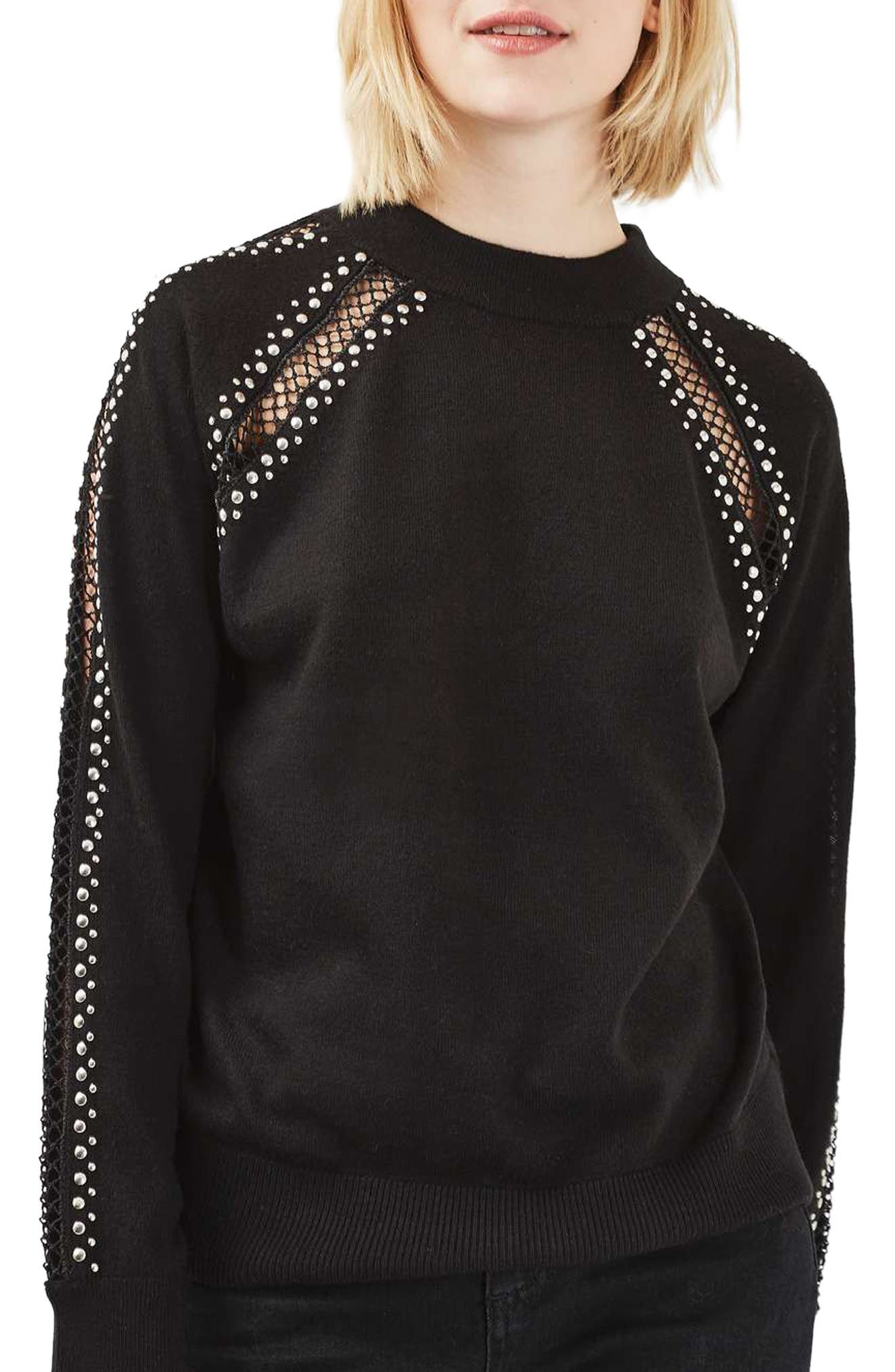 Alternate Image 1 Selected - Topshop Stud Lattice Sweater