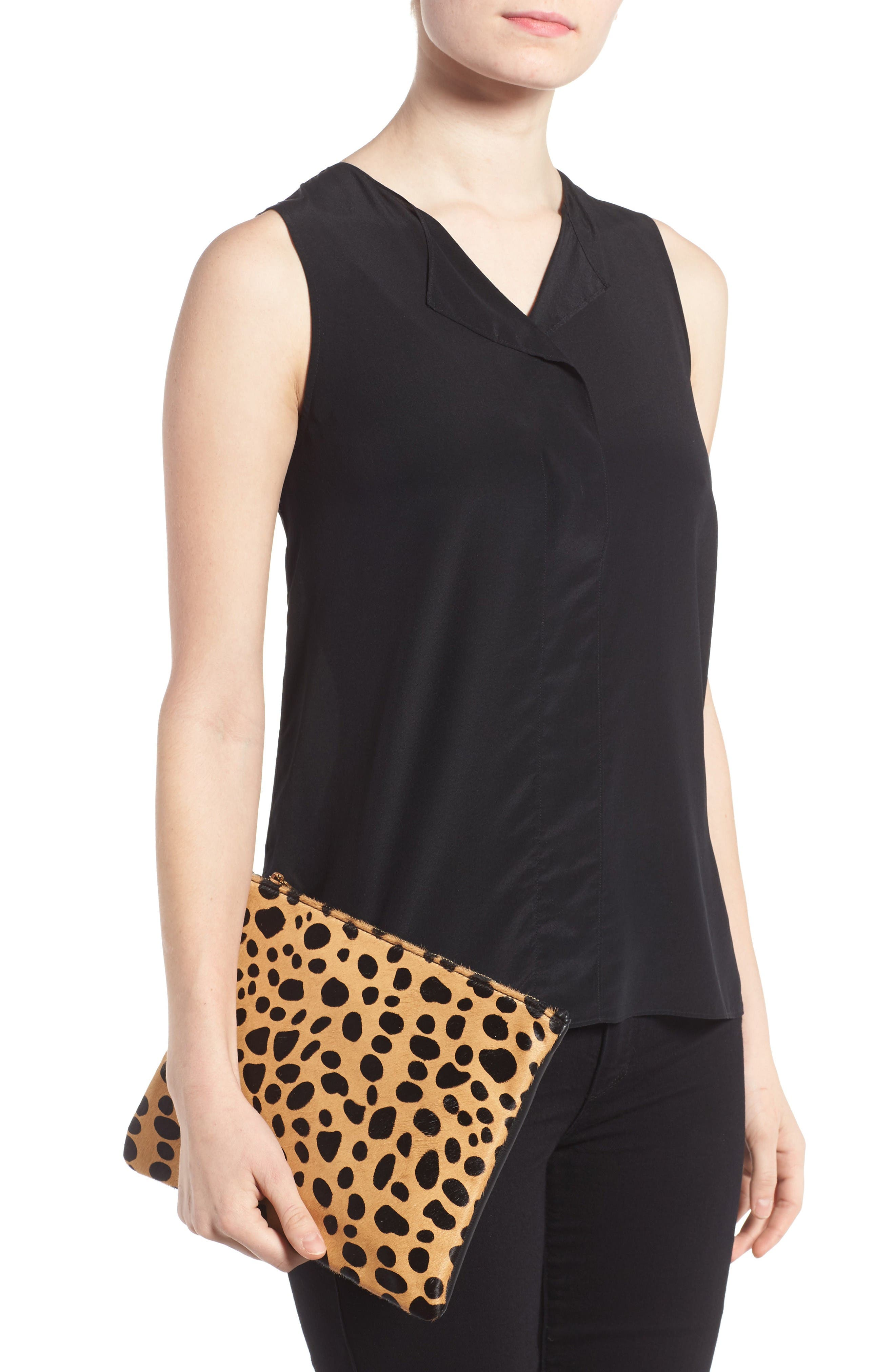 Alternate Image 2  - BP. Leopard Print Genuine Calf Hair Clutch