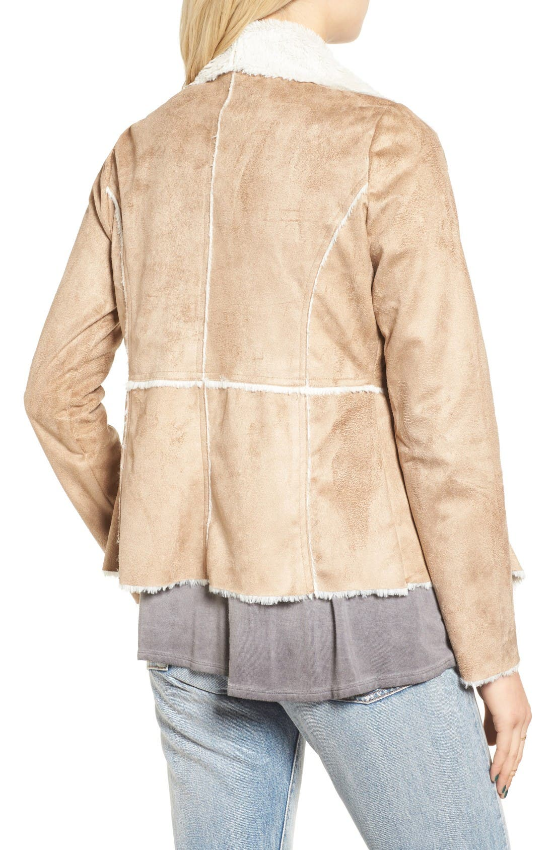 Alternate Image 2  - Soprano Faux Shearling Moto Jacket
