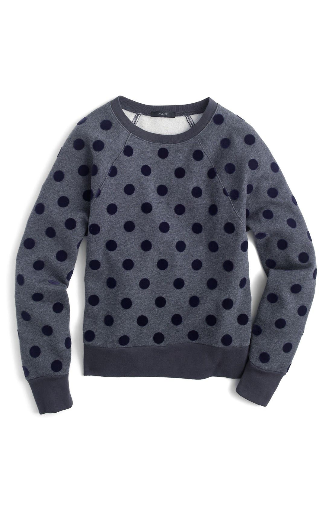 Alternate Image 3  - J.Crew Textured Polka Dot Raglan Sweatshirt