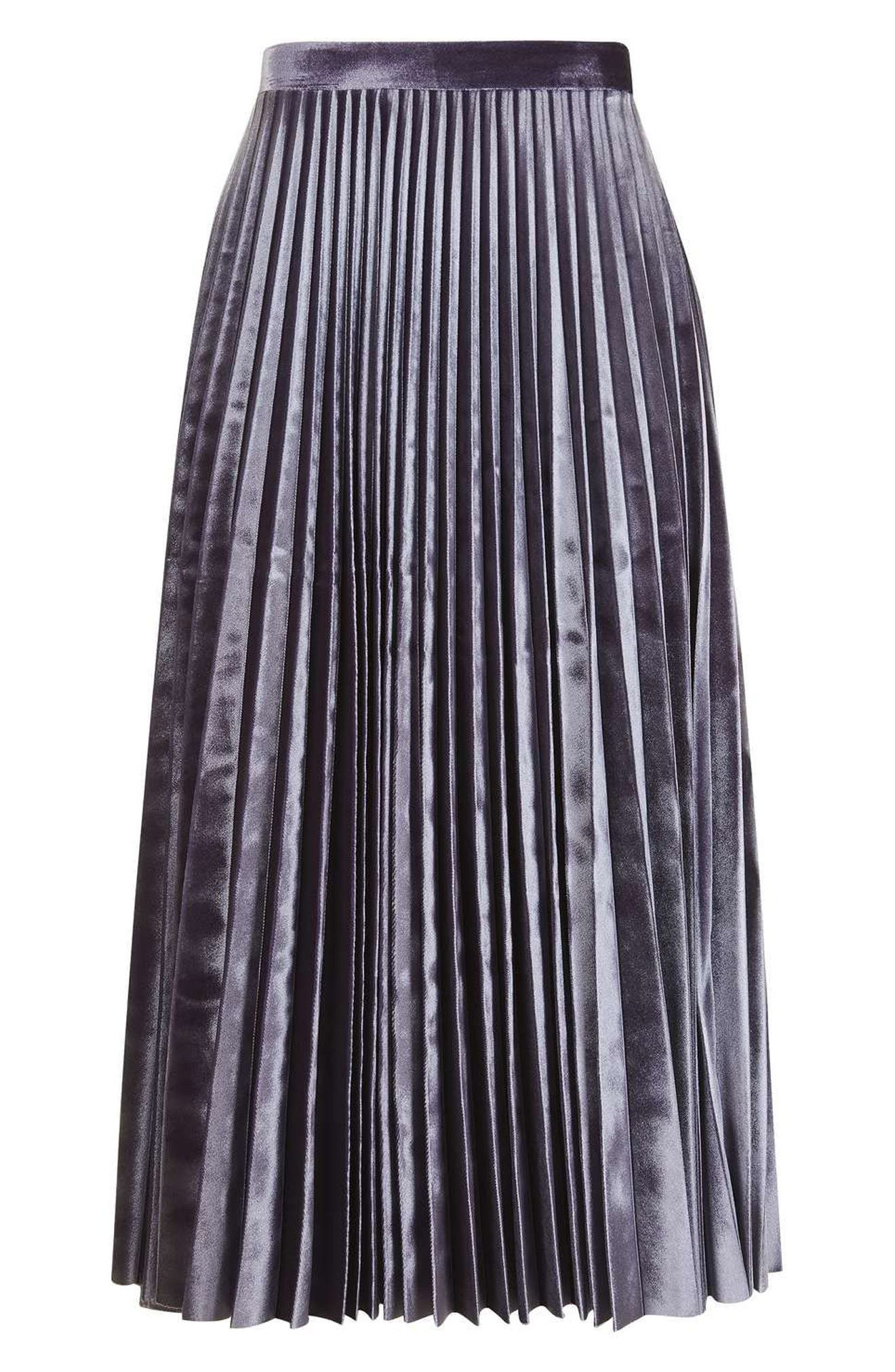 Alternate Image 5  - Topshop Velvet Pleated Midi Skirt