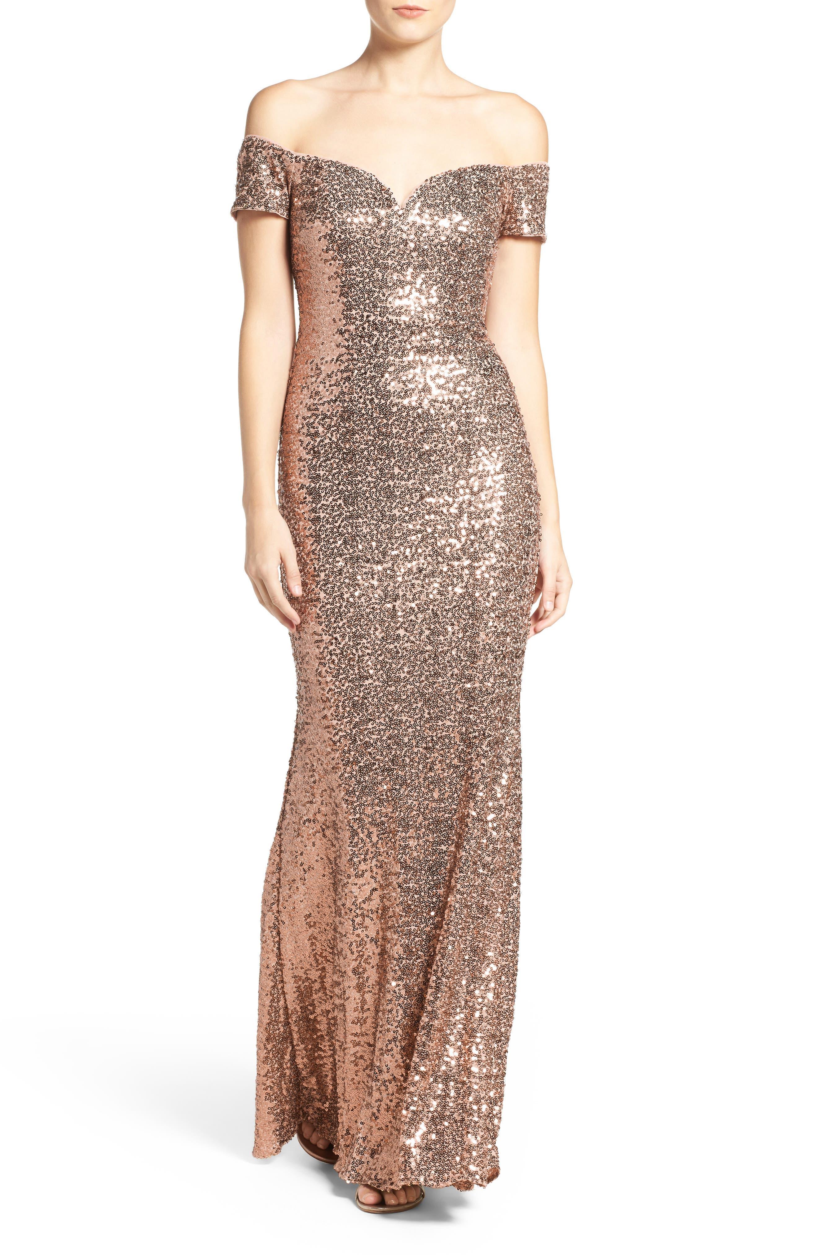 Main Image - Badgley Mischka Off the Shoulder Sequin Gown