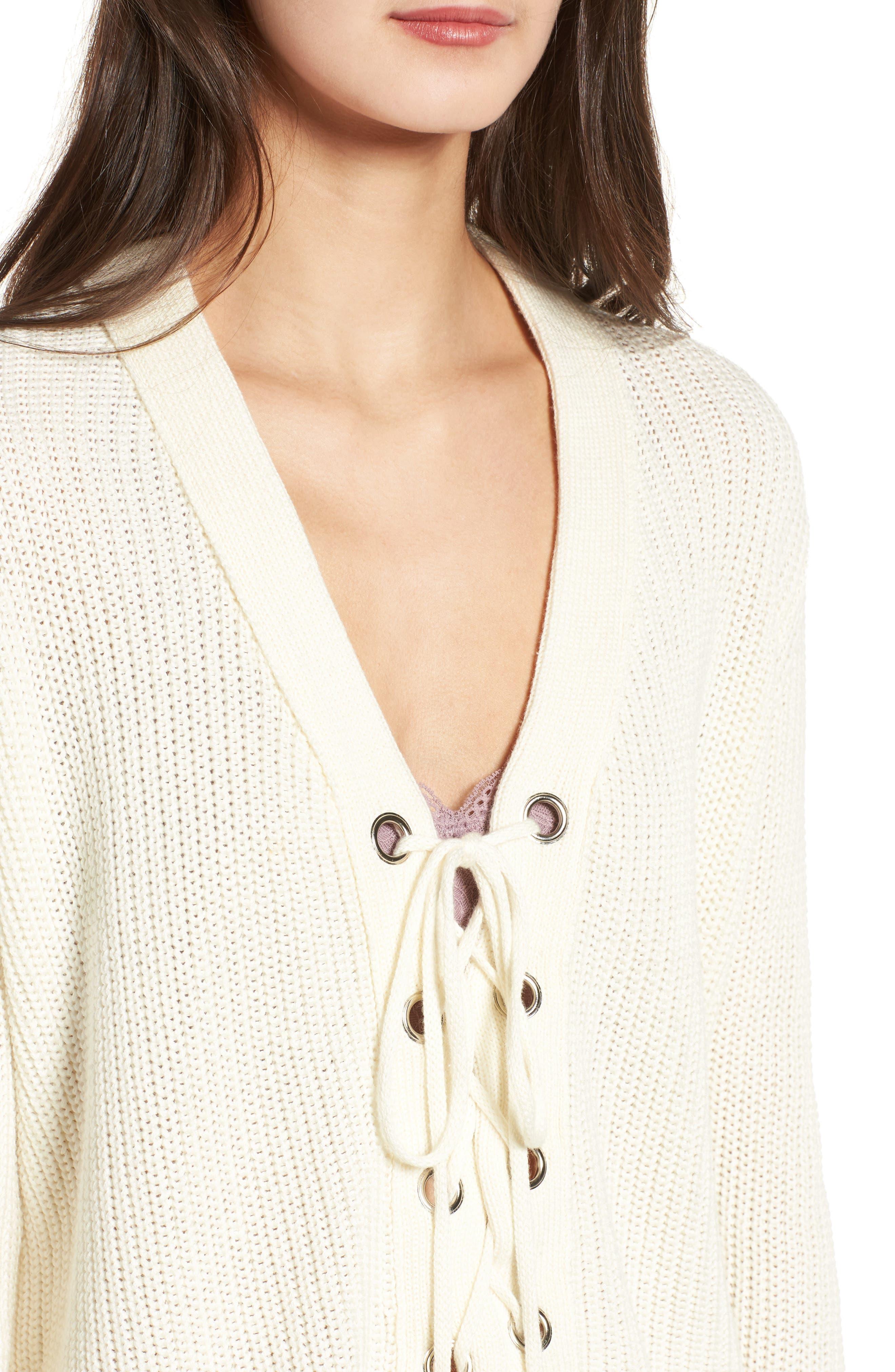 Alternate Image 4  - Lush Lace-Up Sweater