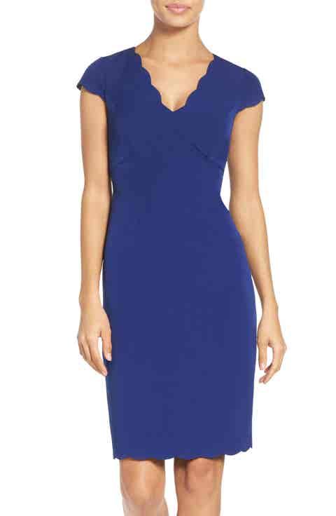 Adrianna Papell Scalloped Crepe Sheath Dress (Regular   Petite)