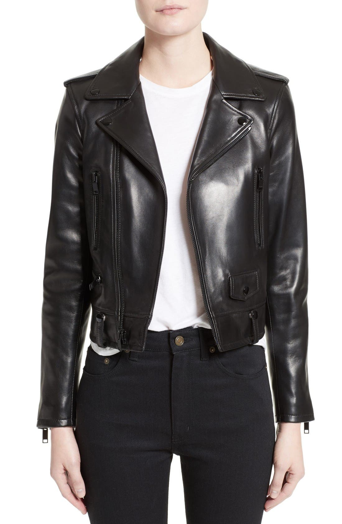 Main Image - Saint Laurent Leather Moto Jacket