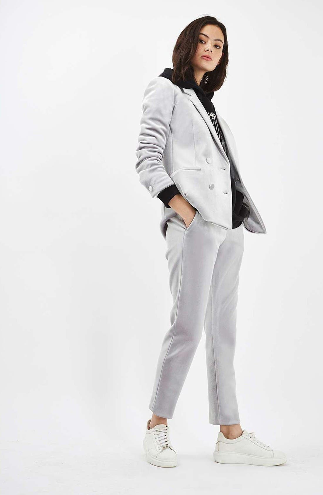 Alternate Image 2  - Topshop Velvet Suit Jacket