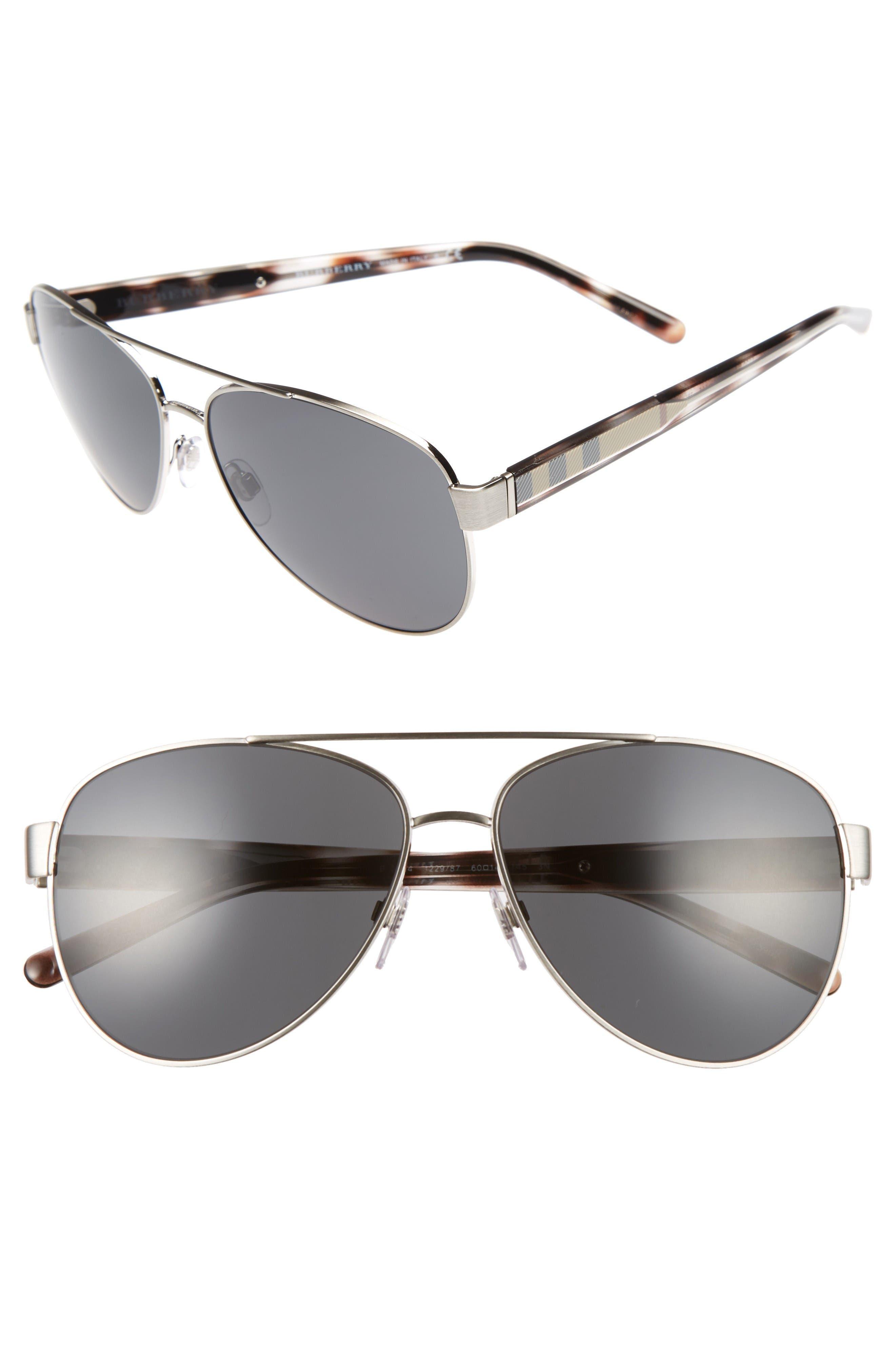 Burberry 60mm Aviator Sunglasses
