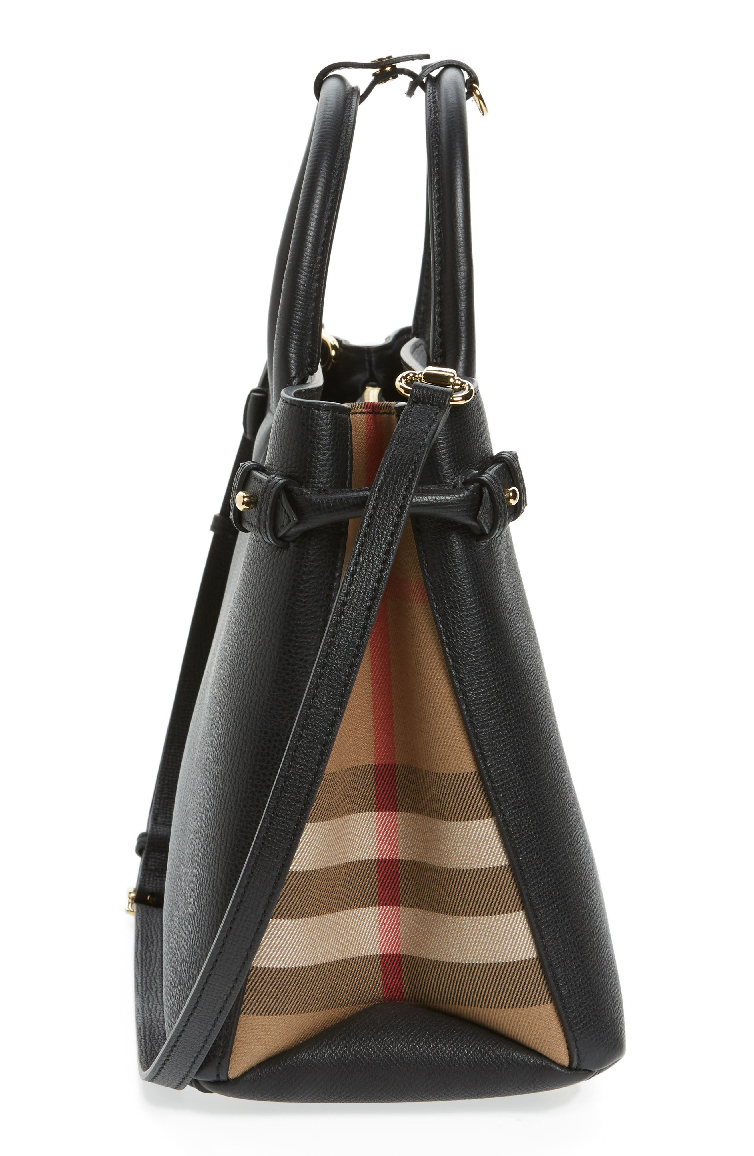 Alternate Image 4  - Burberry Medium Banner House Check Leather Tote