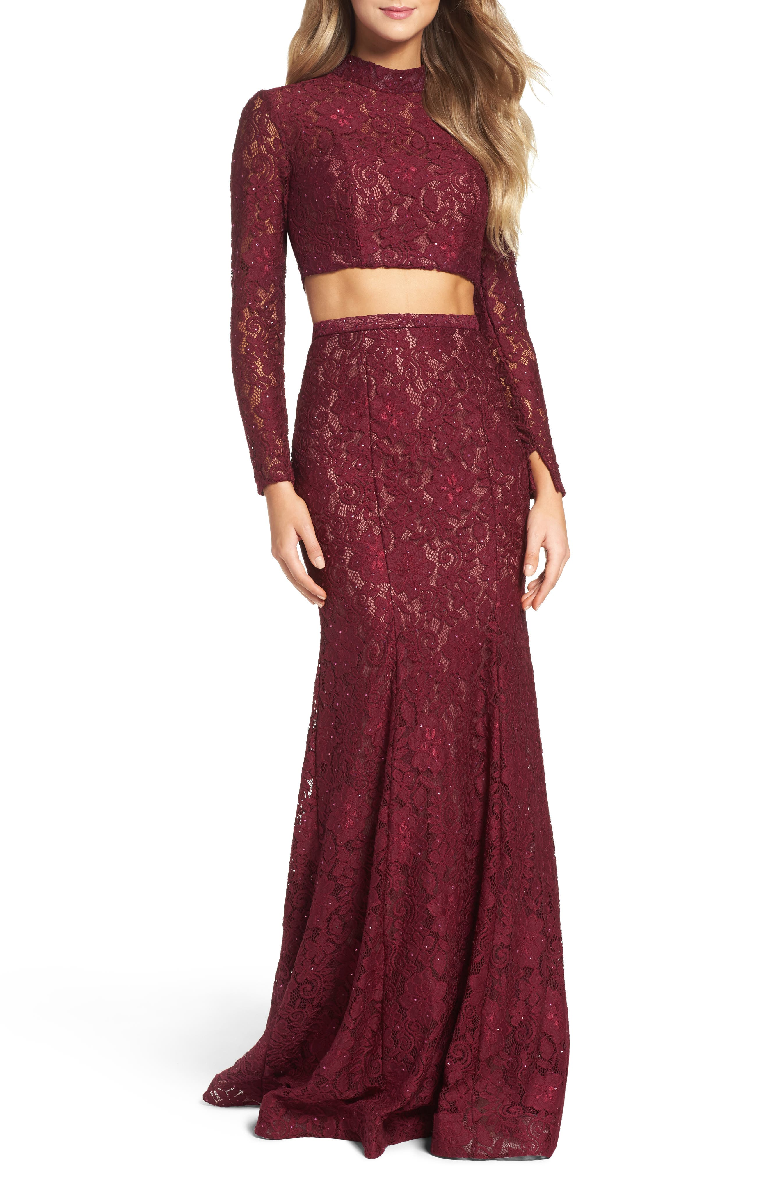 Alternate Image 1 Selected - La Femme Embellished Lace Two-Piece Gown