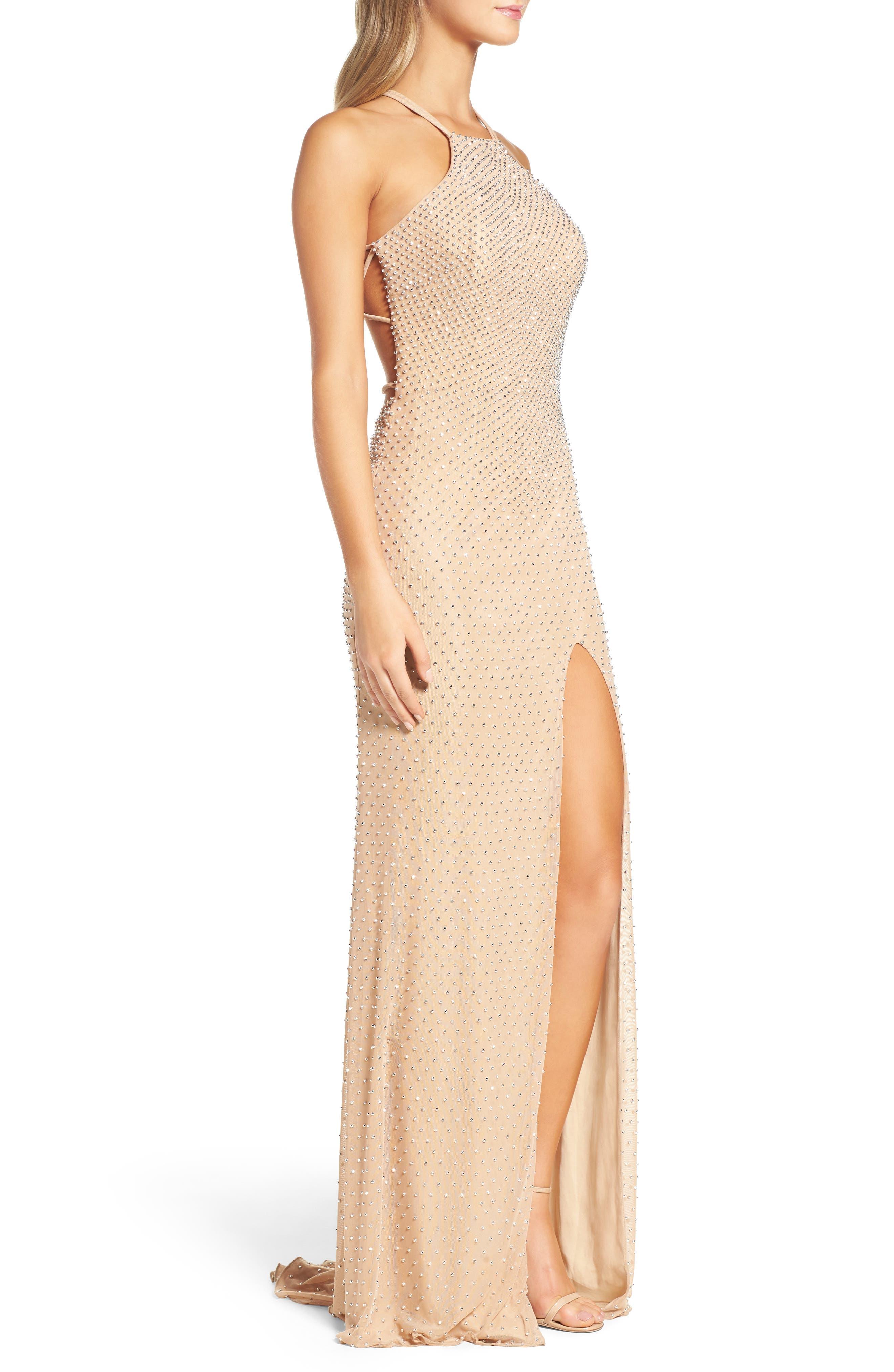 Alternate Image 3  - La Femme Beaded Column Gown