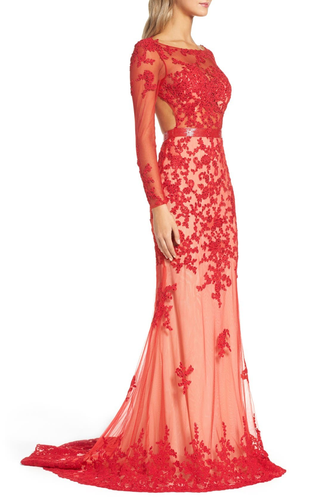 Alternate Image 3  - Mac Duggal Open Back Embroidered Tulle Gown