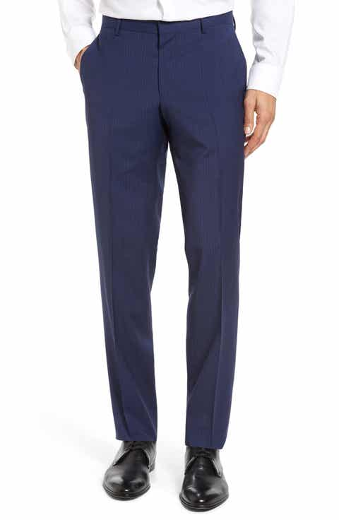 BOSS Benso Flat Front Check Wool Trousers