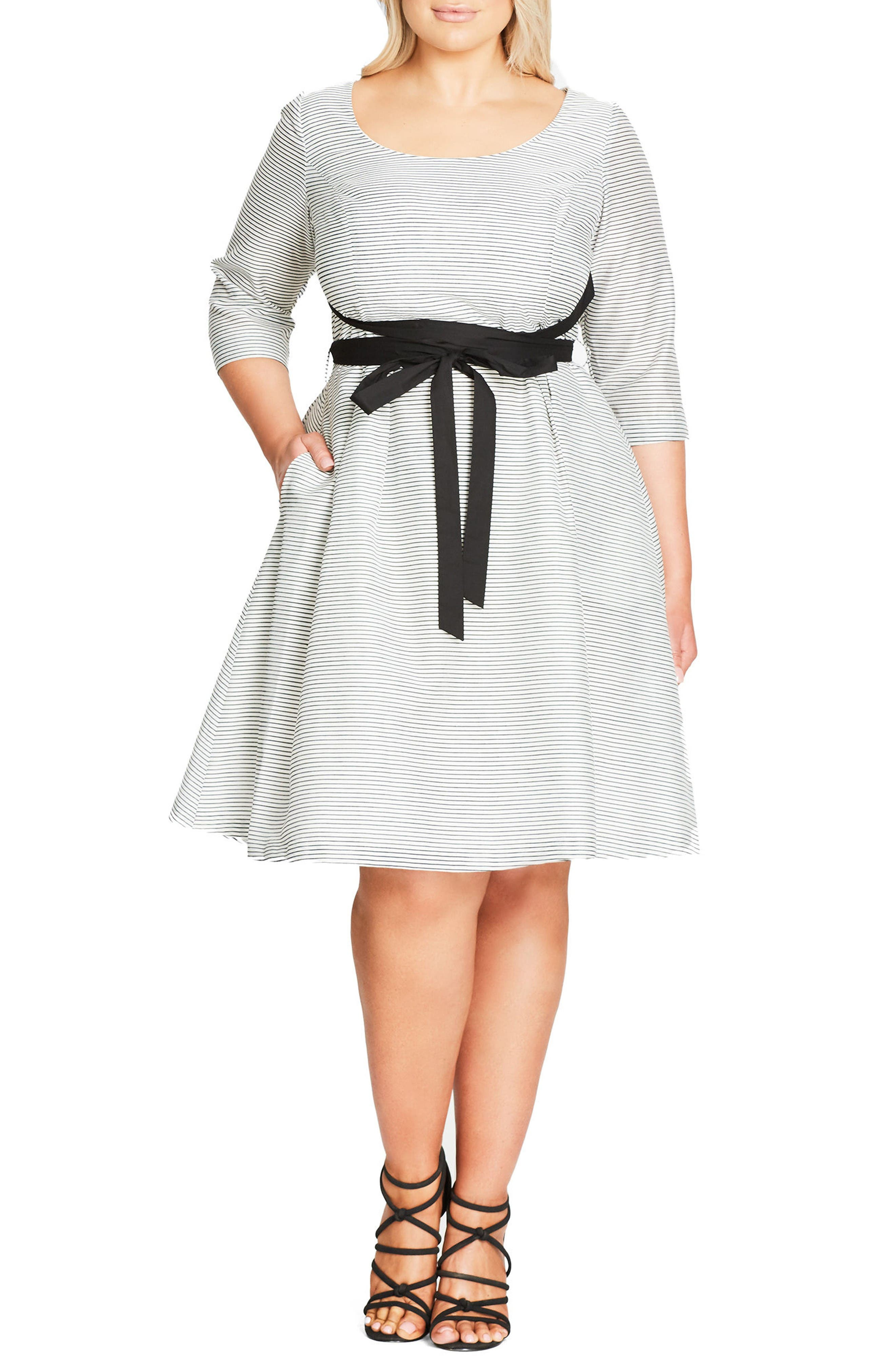 City Chic Ballerina Tie Waist Fit & Flare Dress (Plus Size)