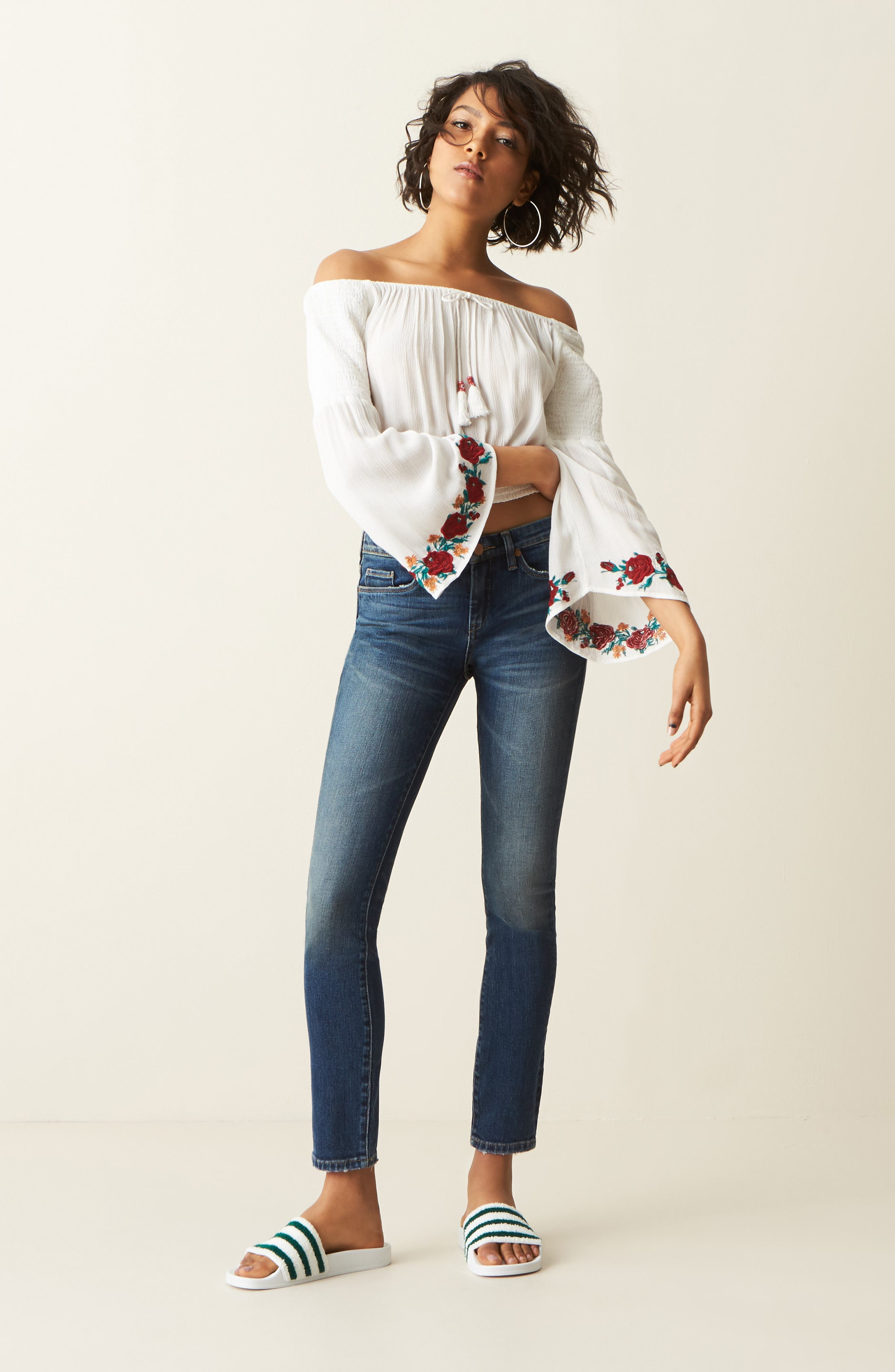 Alternate Image 2  - Band of Gypsies Embroidered Off-the-Shoulder Crop Top