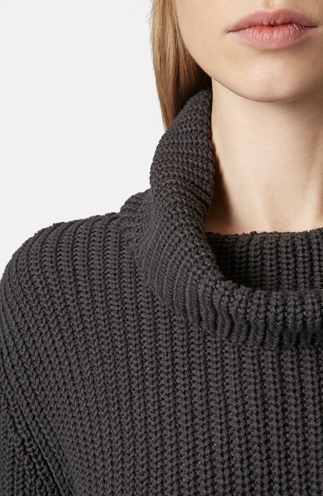 Alternate Image 4  - Topshop Boutique Roll Neck Fisherman Sweater