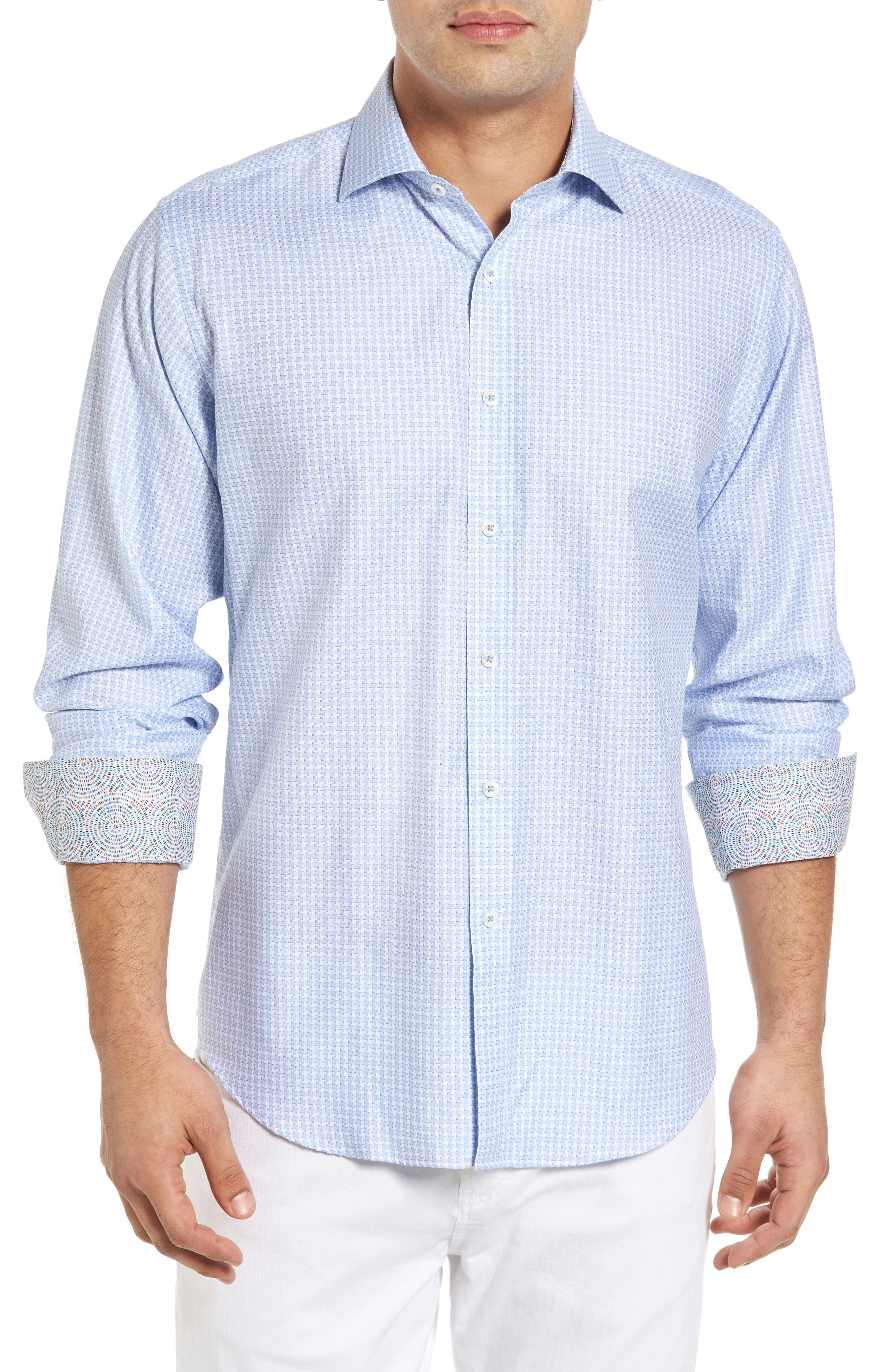 BUGATCHI Classic Fit Houndstooth Sport Shirt