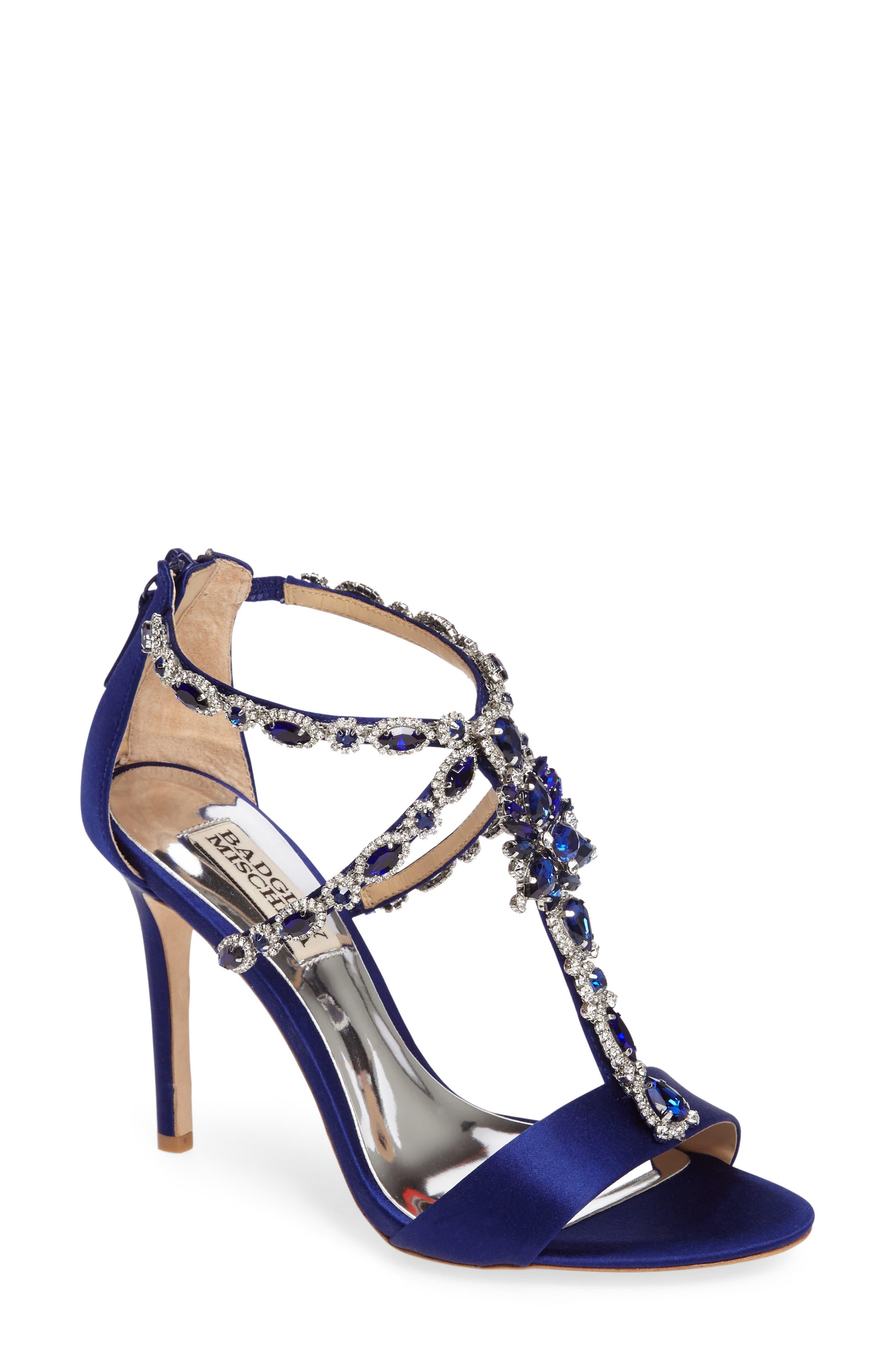 Main Image - Badgley Mischka Georgia Crystal Embellished T-Strap Sandal (Women)