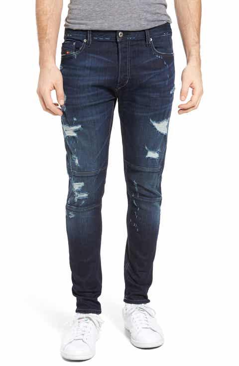 DIESEL® T-Ride Skinny Fit Moto Jeans (U0821)
