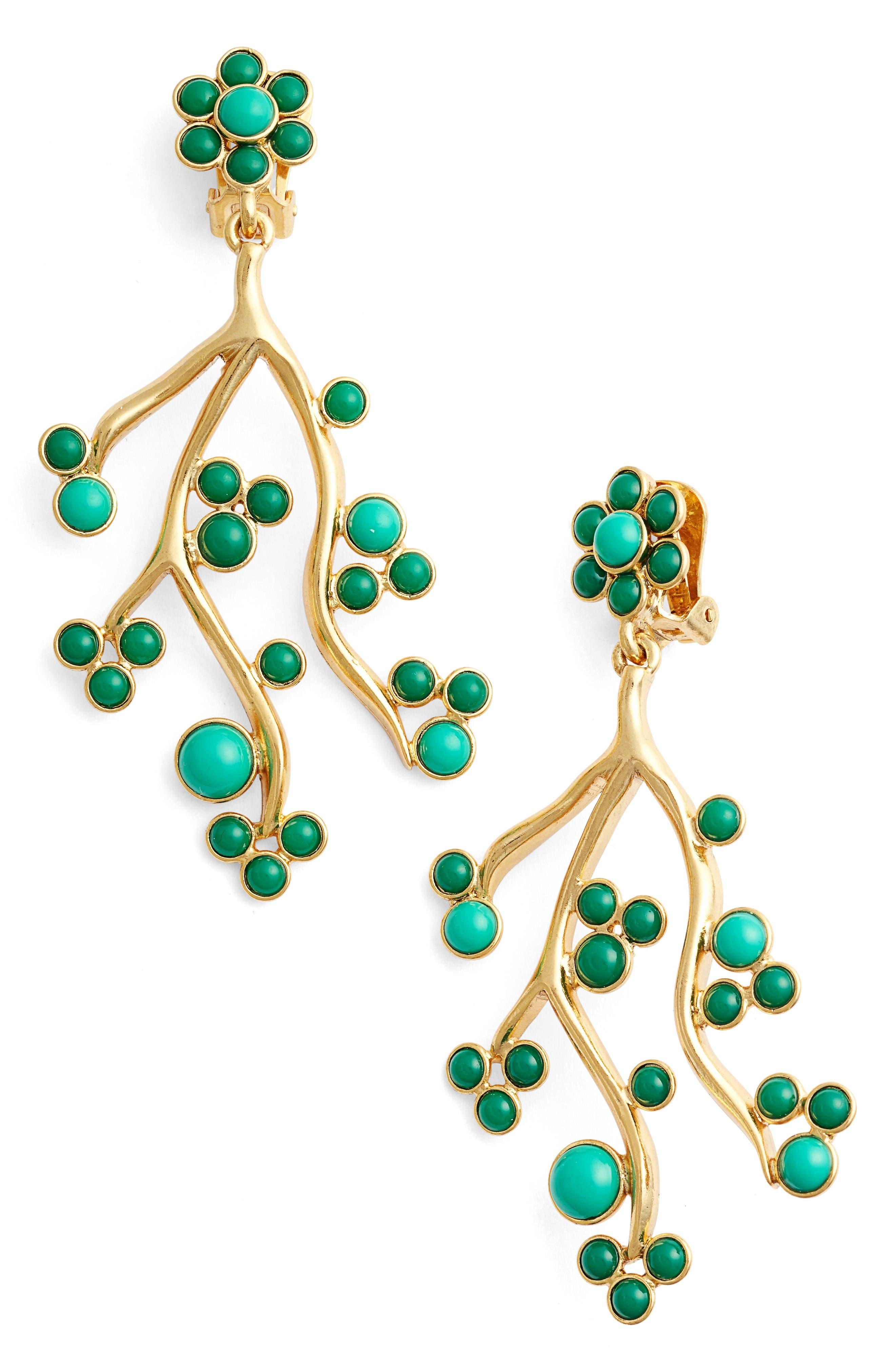 Oscar de la Renta Vine Clip Earrings