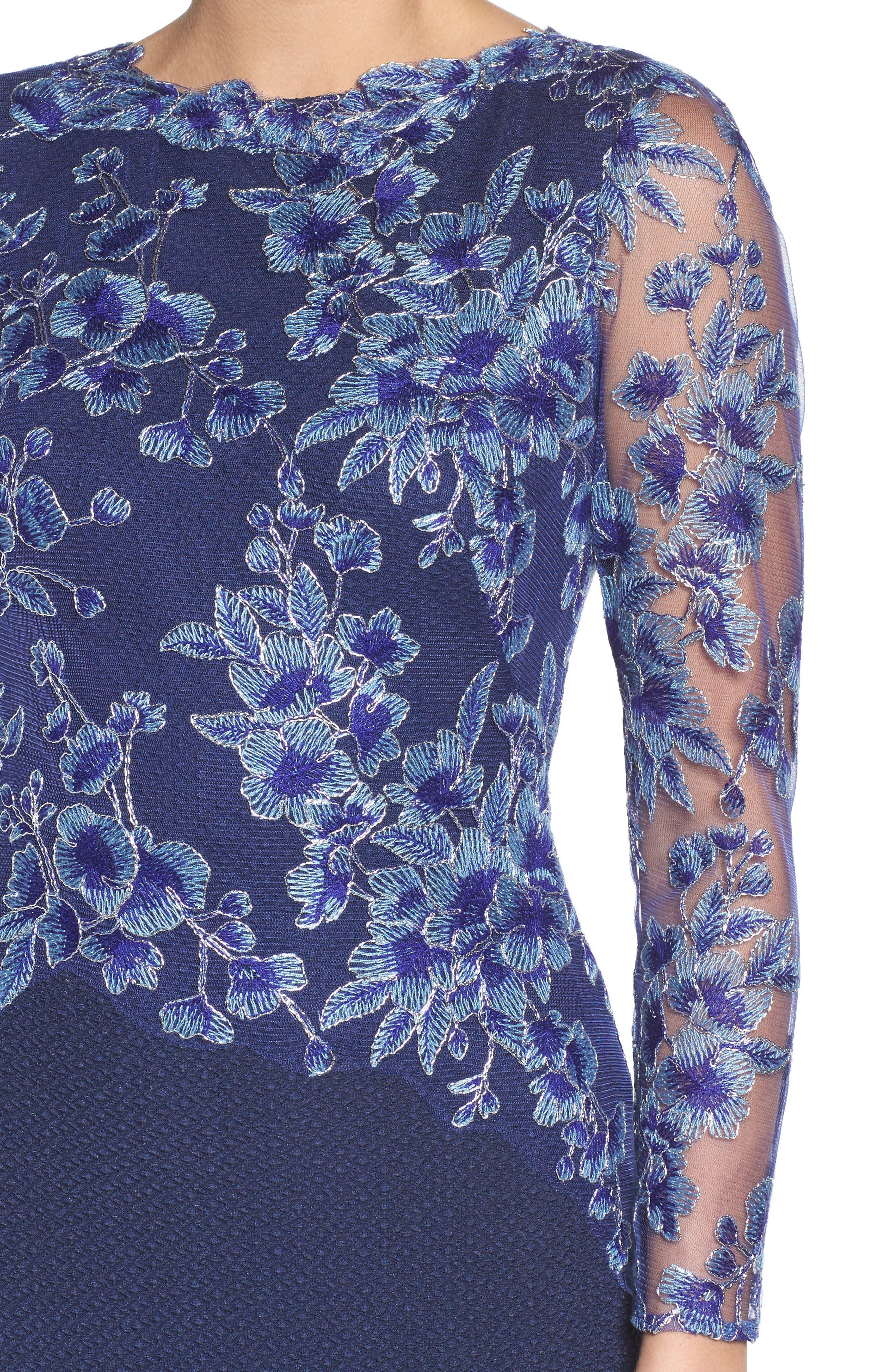 Alternate Image 4  - Tadashi Shoji Embroidered Crepe Gown (Regular & Petite)