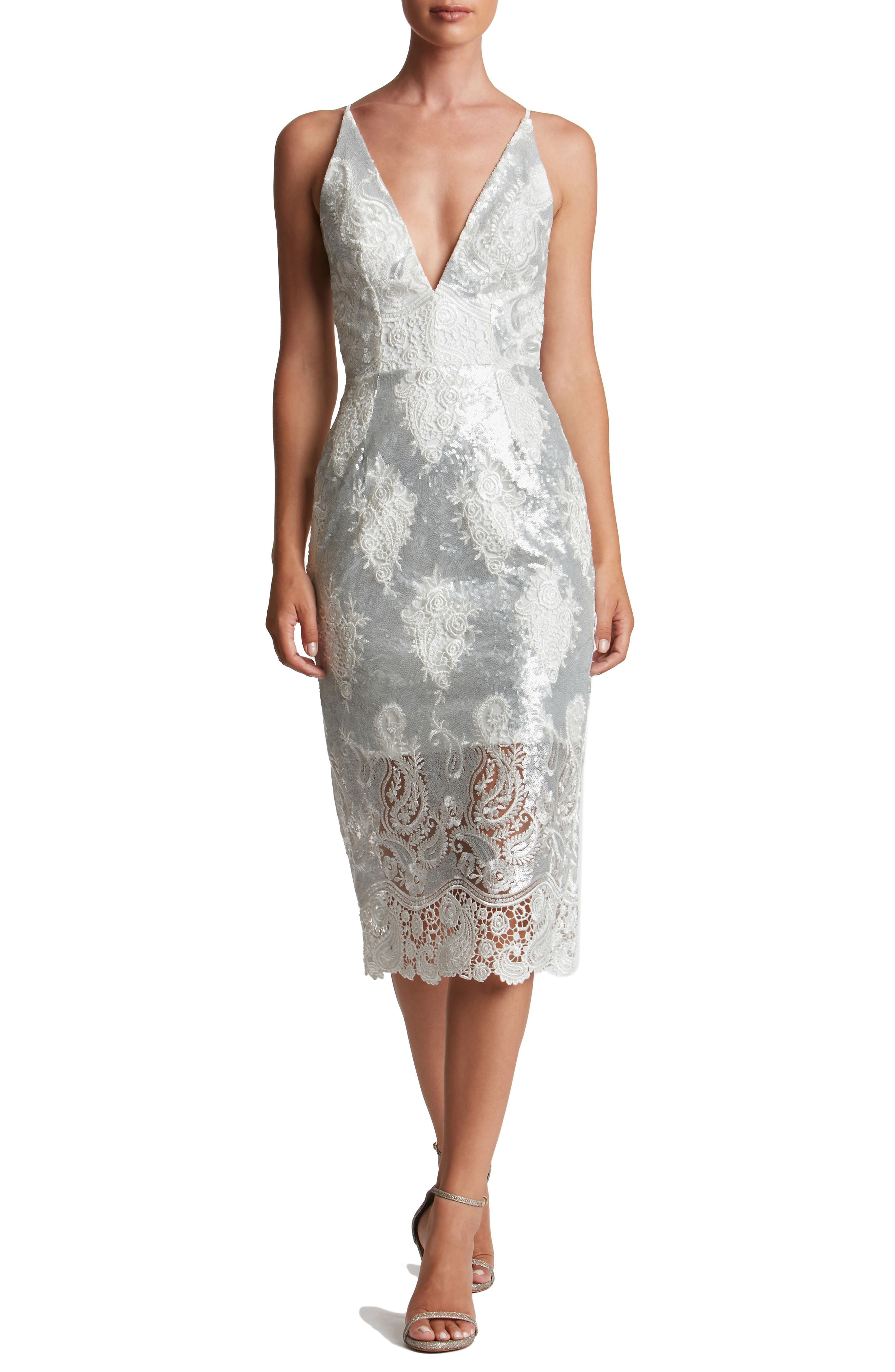Dress the Population Angela Sequin & Lace Midi Dress